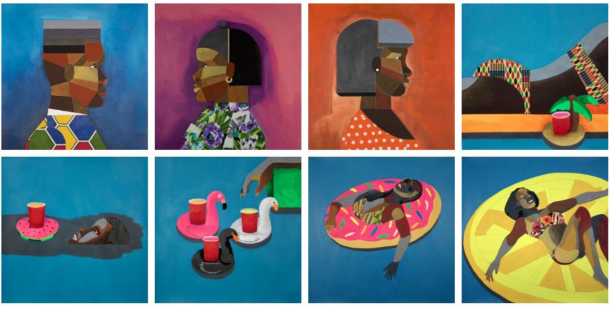 various works on paper by Derrick Adams