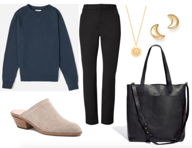 Sweatshirt ,  Pants ,  Shoes ,  Necklace ,  Studs ,  Bag