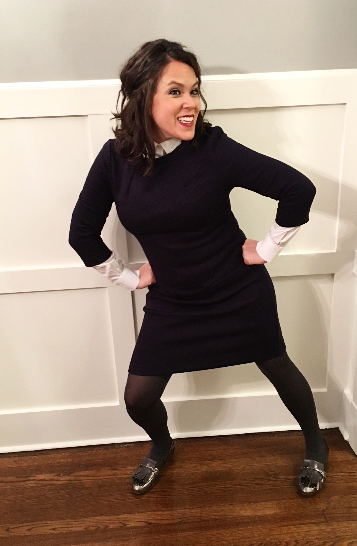 Boden dress ,  Brooks Brothers blouse ,  Louise et Cie loafers . Can you tell she was a theater major?