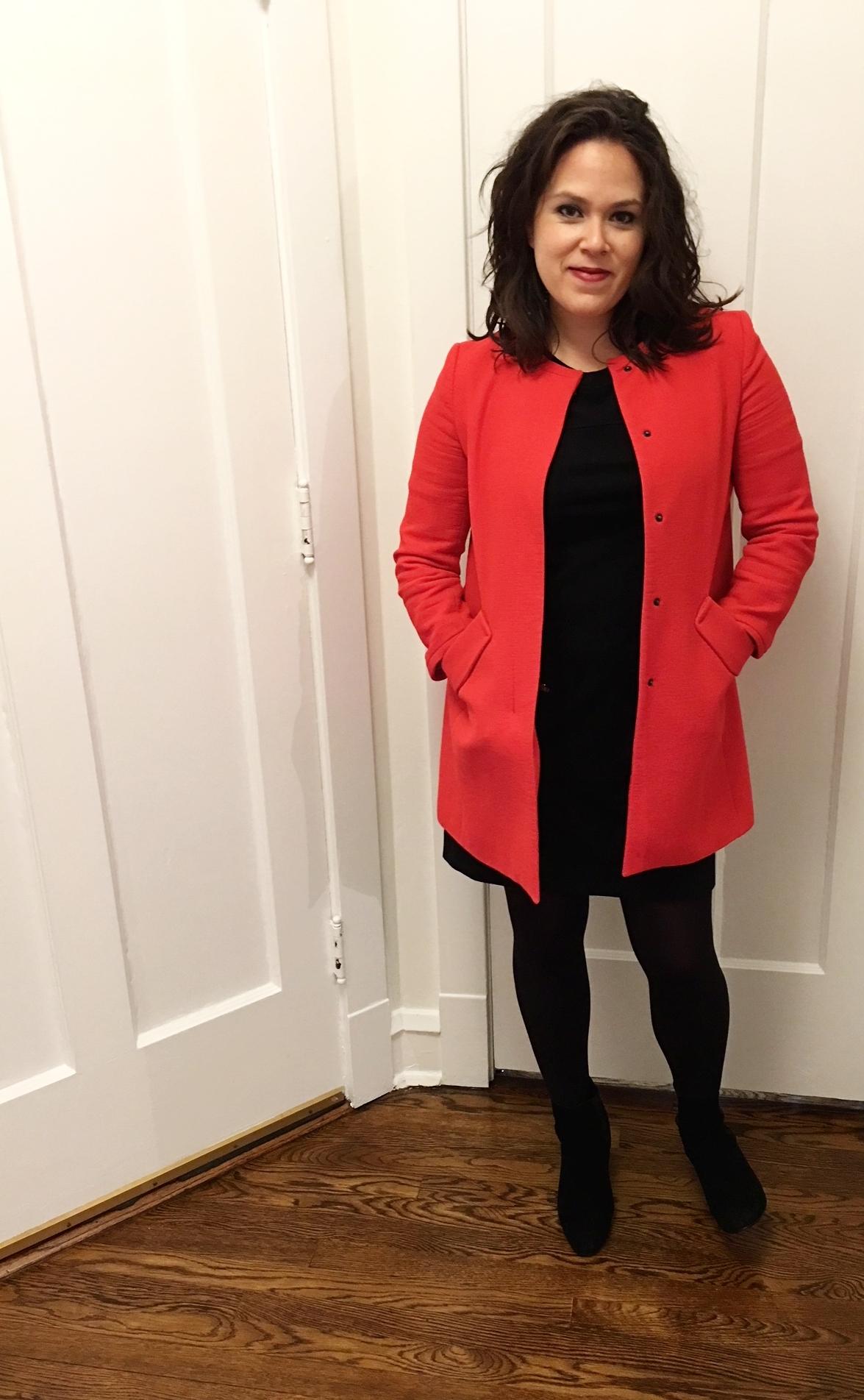 similar black shift dress ,  similar red jacket , Steve Madden Boots