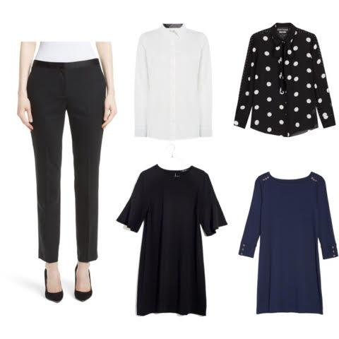 1. Rebecca Taylor trousers  2.  Brooks Brothers blouse  3. polka dot blouse 4. Blue  Boden dress  5. similar black shift dress