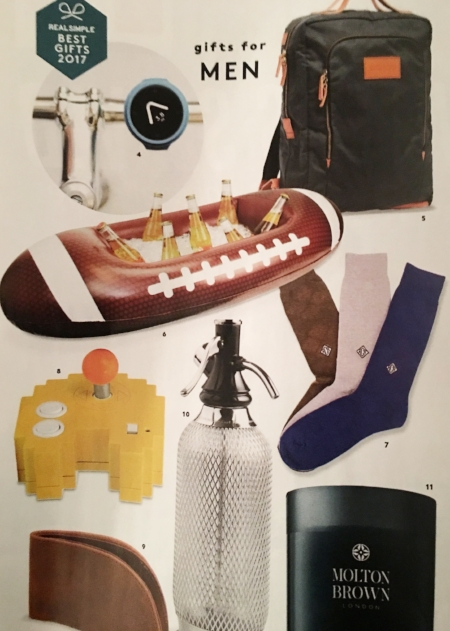 4. Some bike gadget 5. Backpack 6. Inflatable beer boat 7. Socks 8. Video game controller that looks like a video game 9. Wallet 10. Bubbly water maker 11. Candle (from Real Simple)