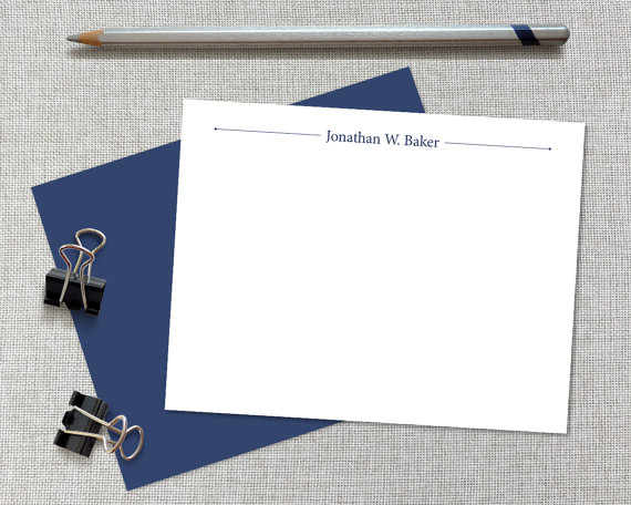 Classic- Men's Personalized Stationery- Find a Penny Paper Co.