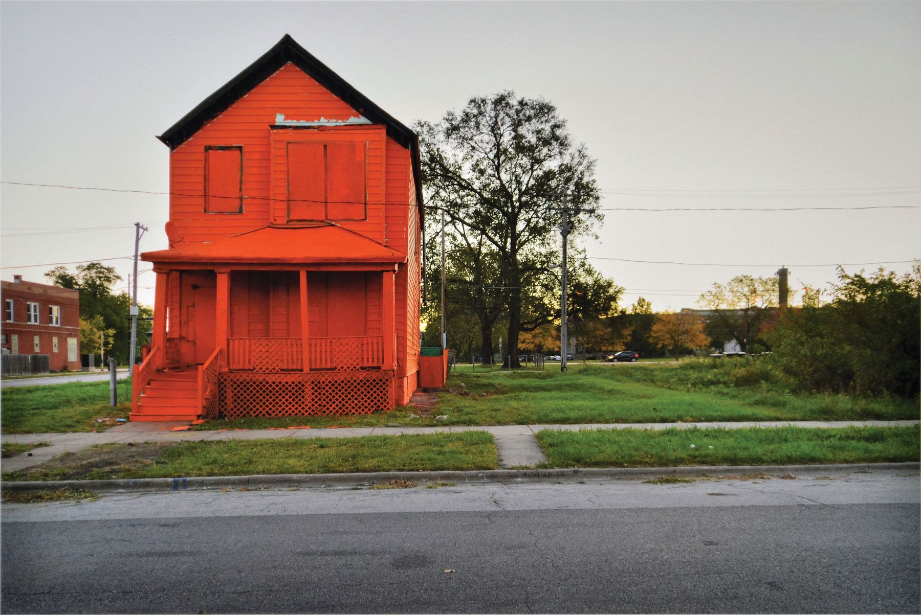 Amanda Williams,  Flamin' Red Hots  from  Color(ed) Theory Suite , 2014–15. Color photograph, edition of 10 aside from 2 artist proofs; 13 ½ x 20 in. (47 × 50.9 cm).