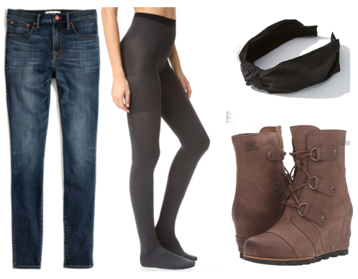 Madewell jeans ,  Spanx reversible tights ,  Anthropologie headband ,  Sorel boots