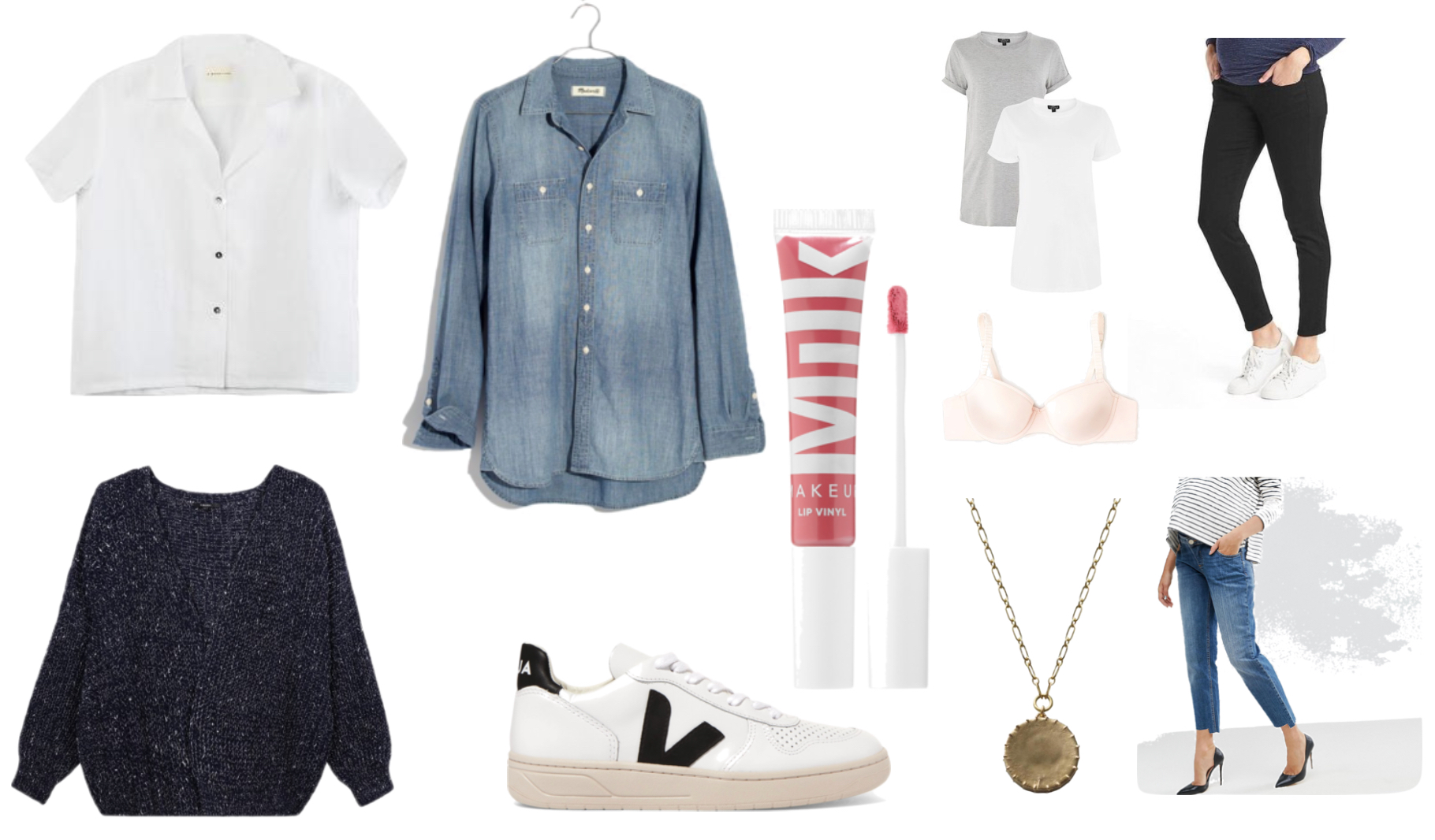 White linen shirt , c hambray ,  Lip gloss ,  T-shirt two pack ,  black jeans ,  blue jeans ,  Pendant ,  World's most comfortable bra ,  Sneakers ,  Cardigan