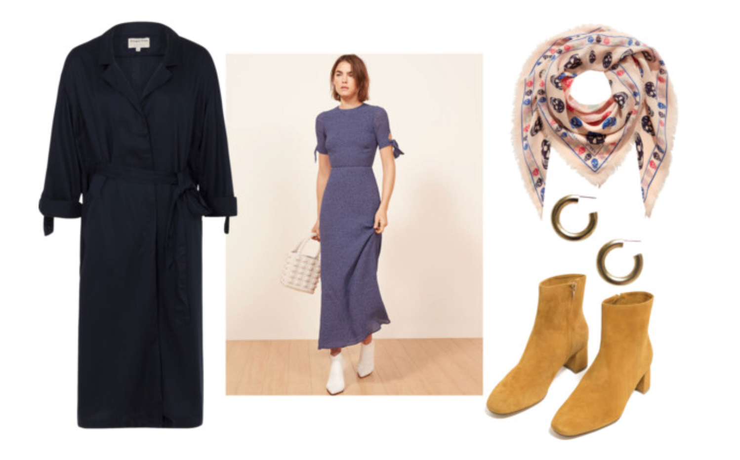 1. Navy duster   2. Long dress   3. Long scarf (similar options)   4. Hoops   5. Suede Boots
