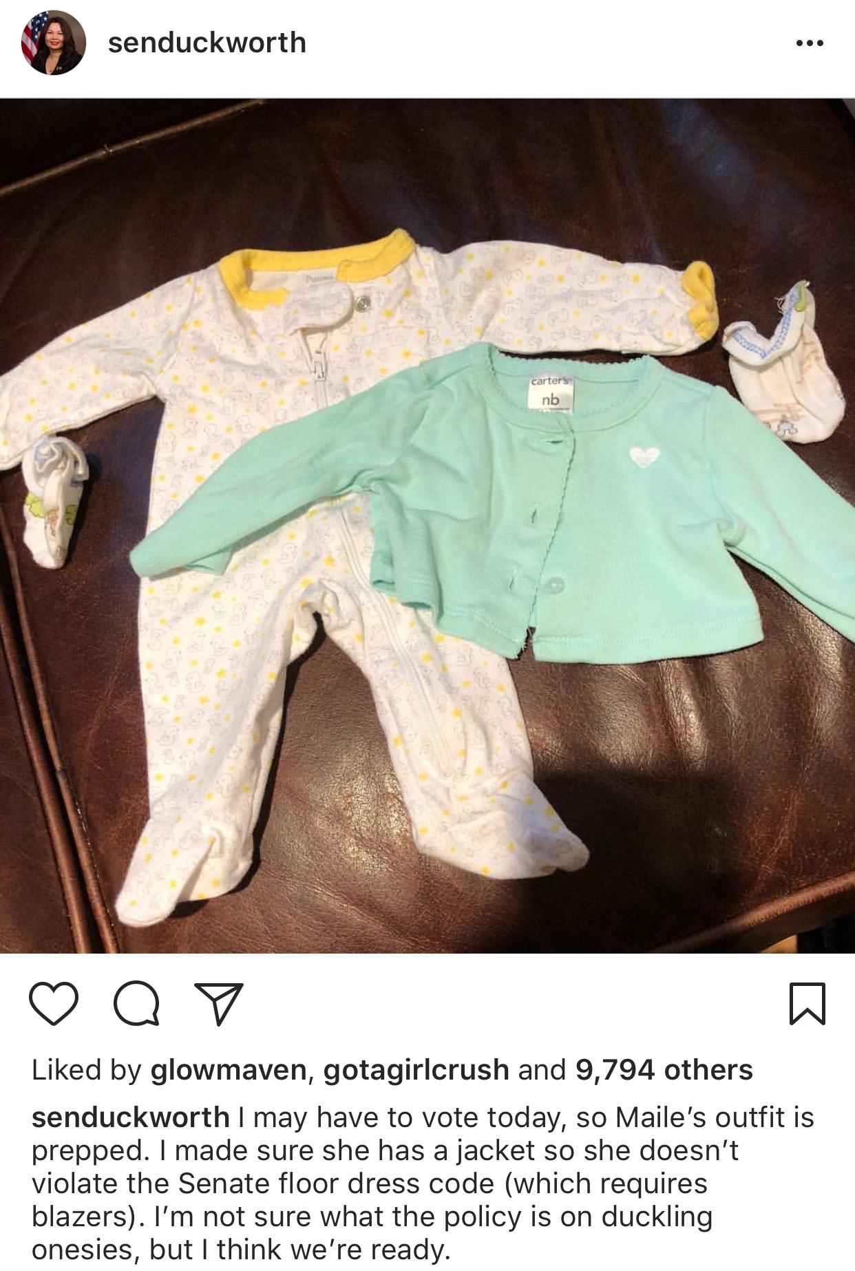 Duckworth's cute pre-vote Instagram post.