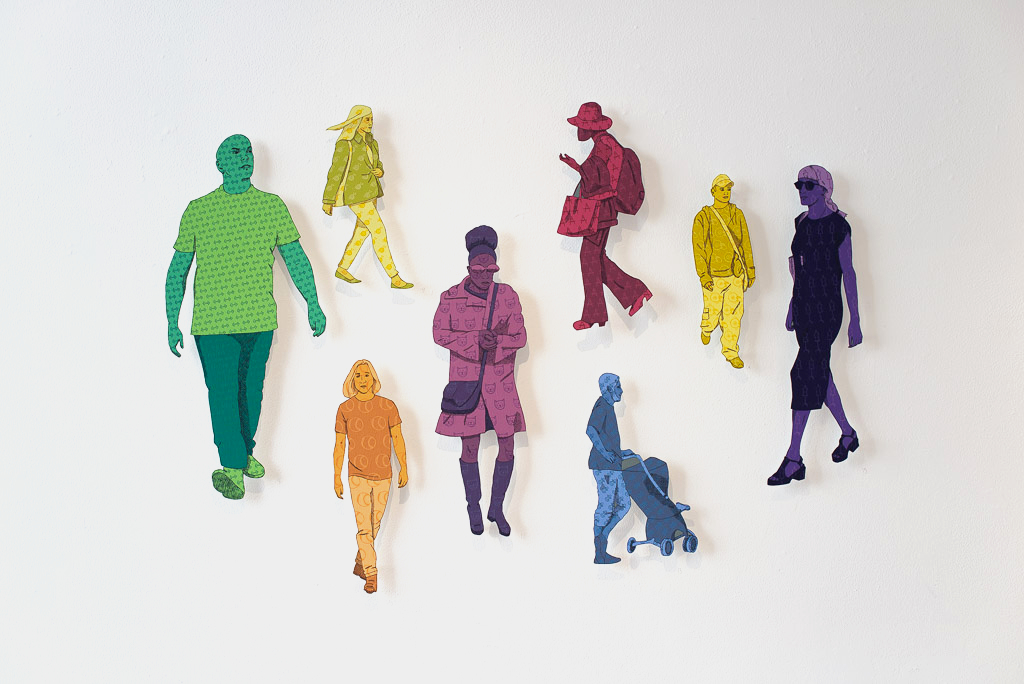 From her installation,  People Watching,  acrylic on aluminum figures