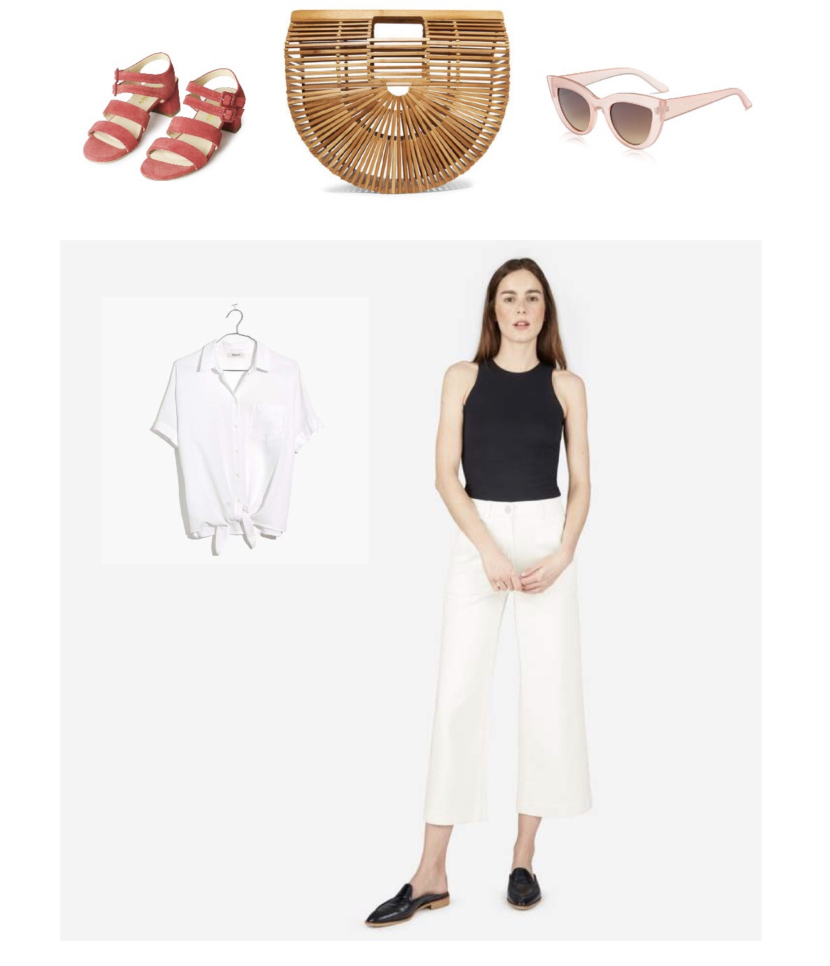 Marais* sandals ($310)  or these  cheap Zara cuties ($80) , Cult Gaia bag (sold out) or  Amazon bamboo handbag ($40) ,  Cat eye sunglasses ($10) ,  Madewell tie-front ($65)  or  Everlane* white button down ($68) ,  Everlane* wide leg crop ($68)