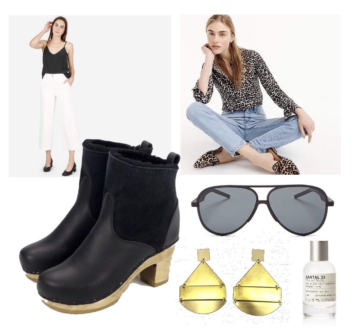 Everlane silk cami ,  J. Crew Perfect Shirt ,  No. 6 shearling boots ,  Polaroid aviators ,  The Only Trybe earrings ,  Santal 33 perfume .