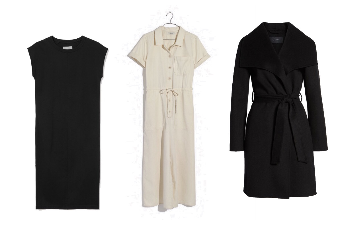 Similar Black Linen Midi Dress  (or  this one ),  Madewell Utility Jumpsuit ,  Tahari Wool Belted Coat