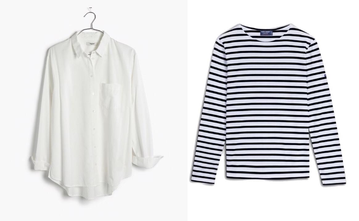 Madewell white shirt ,  Saint James Striped tee