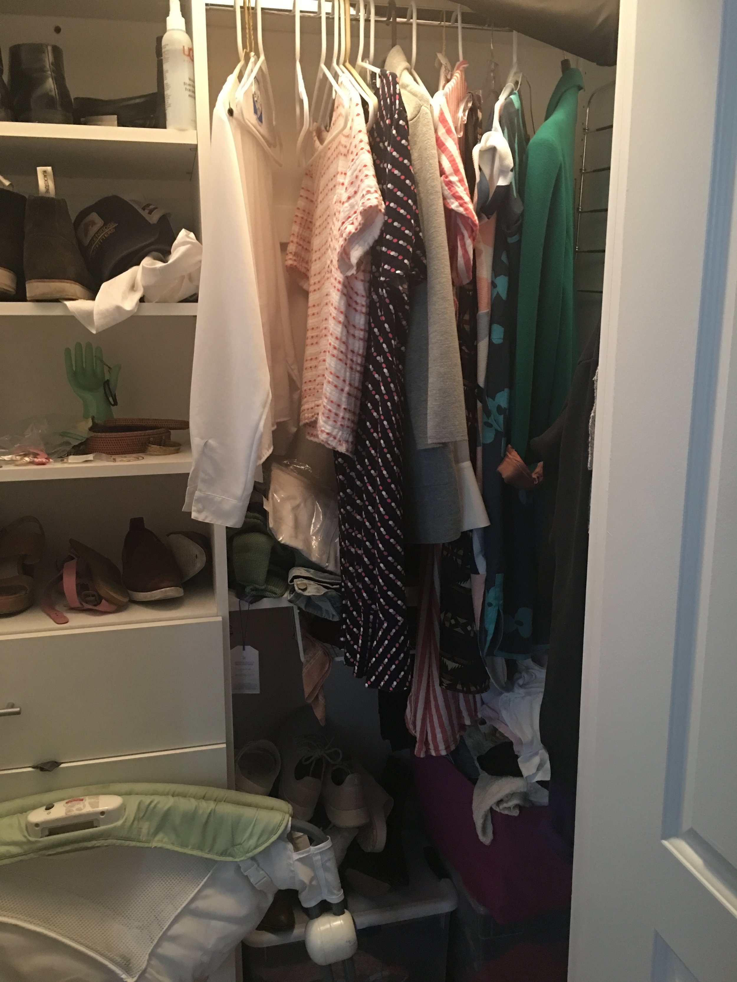 My closet, the former home of random baby items and weird-fitting Target dresses.