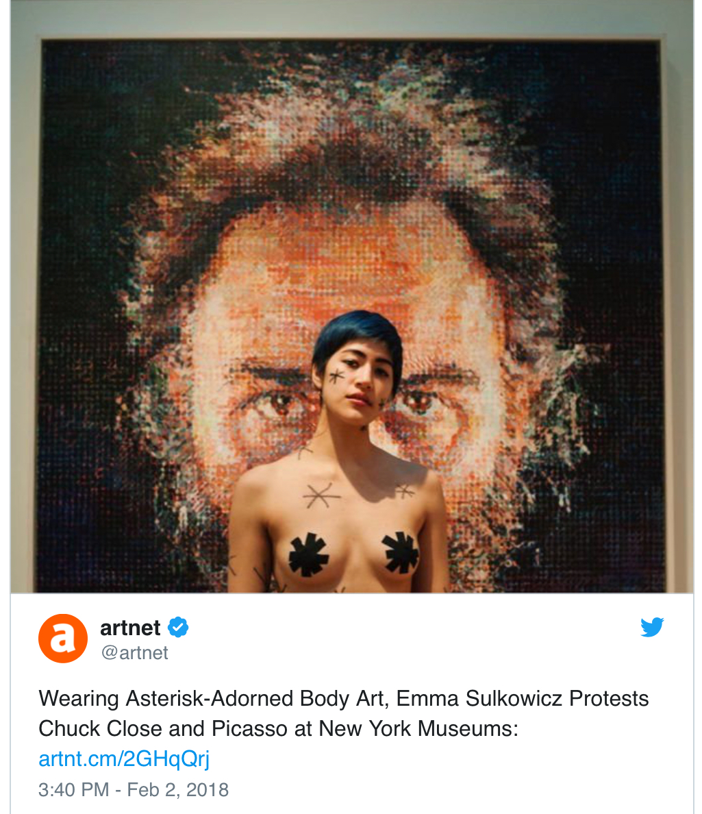 Chuck Close has been accused of assault by upwards of 30 women- many museums have suggested adding an asterisk to artwork that is the result of sexual assault (Via Jezebel)