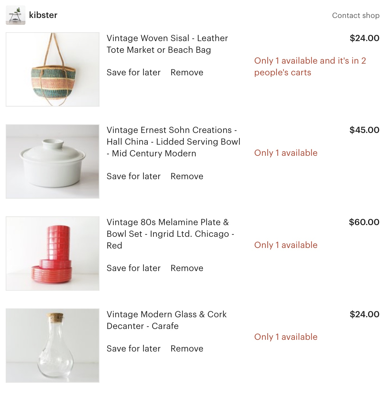 My current cart.  (I'll let you in on my new earth-saving, cool-hunting, penny-pinching tactic:  before I buy something on Amazon, I check to see if I can get it here or one of my other fave Etsy shops.  Recent reasons for a visit:  broken decanter, not enough kid-friendly dishware, batch of cookies made and Saran Wrap over plate felt undignified.  The purse is NOT a necessity but, I mean, it's too good to pass up).