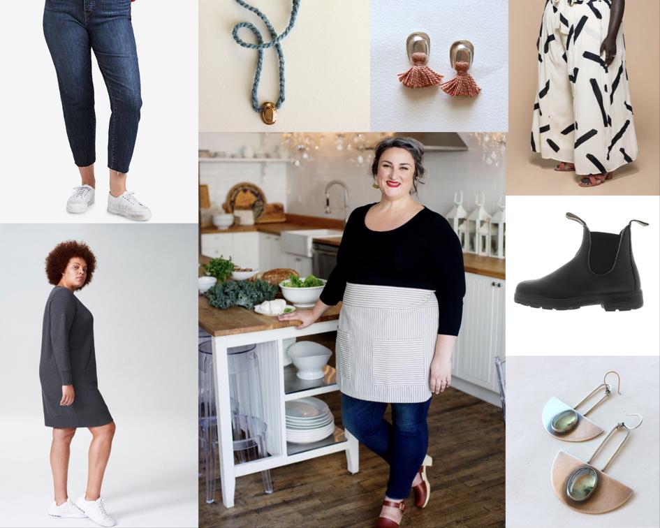 High Rise Levis , Necklace and Earrings by  Salt + Still ,  Premme Wide Leg Pants ,  Blundstone Boots , Earrings by  Sierra Keylin , Jeanelle in  Bryr Clogs ,  Universal Standard Sweatshirt Dress .