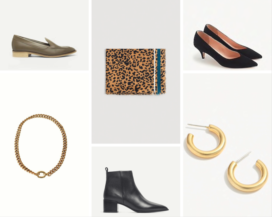 Everlane loafers , Vintage scarf ( Mango option ),  J. Crew heels ,  Madewell hoops ,  Everlane boots ,  Laura Lombardi necklace