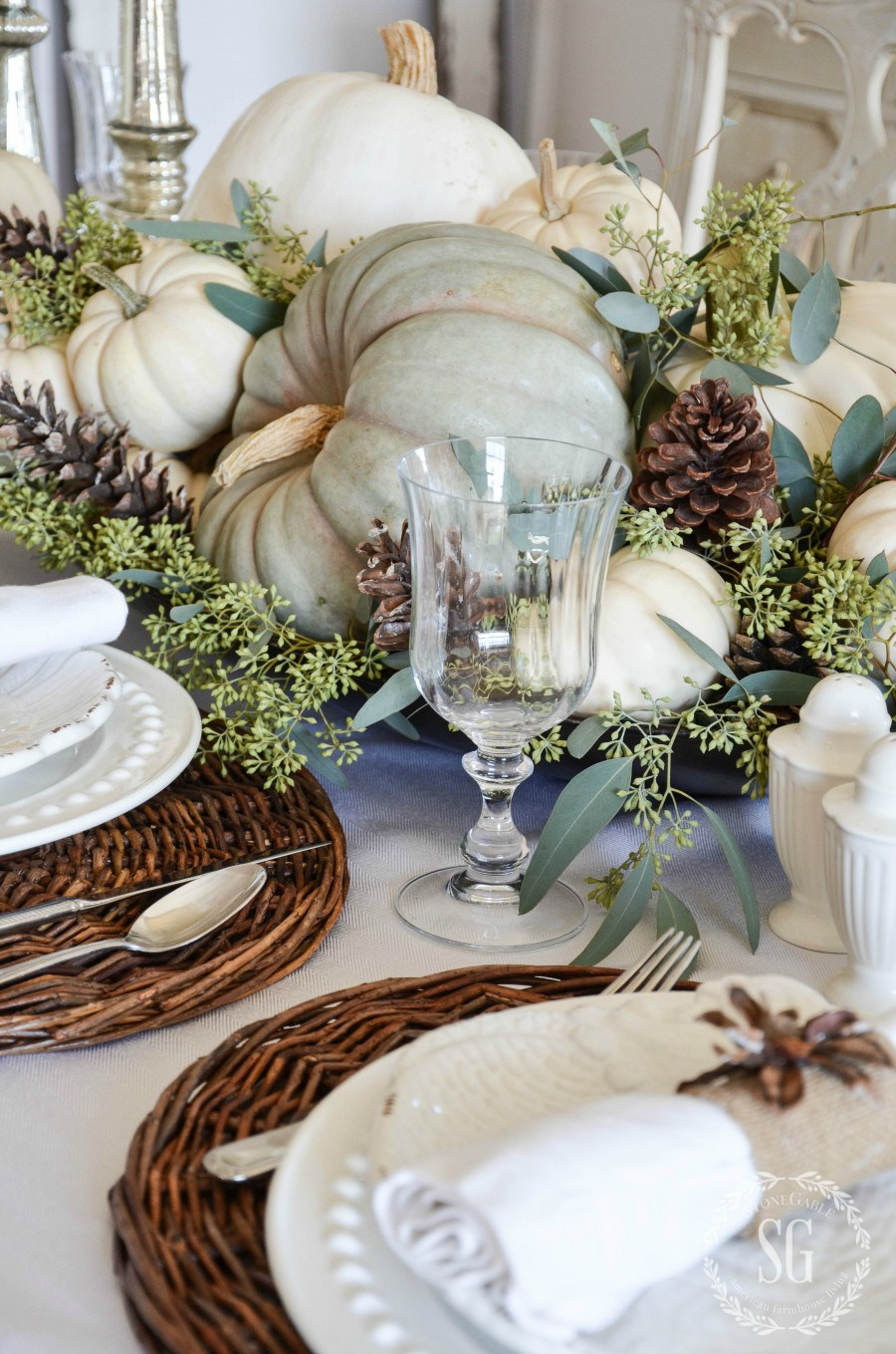 You can't go wrong with Mother Nature. - Forget linens, nature is where it's at this fall. Lay some colorful, thick magnolia leaves down the center of your table for a rustic runner.