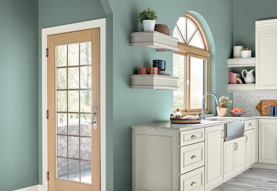 Relaxing Blues - 2018 is a big a year for Behr with their first ever Color of the Year: In The Moment T18-15. Behr is hopping on board the cultural shift from tech-immersed to tech-free living spaces. In The Moment T18-15 creates an atmosphere where you can find some actual relief and relaxation from unplugging. This casual blue will help you feel at peace in whatever room you use it in, making it the perfect shade for that room you use to escape the chaos of life.