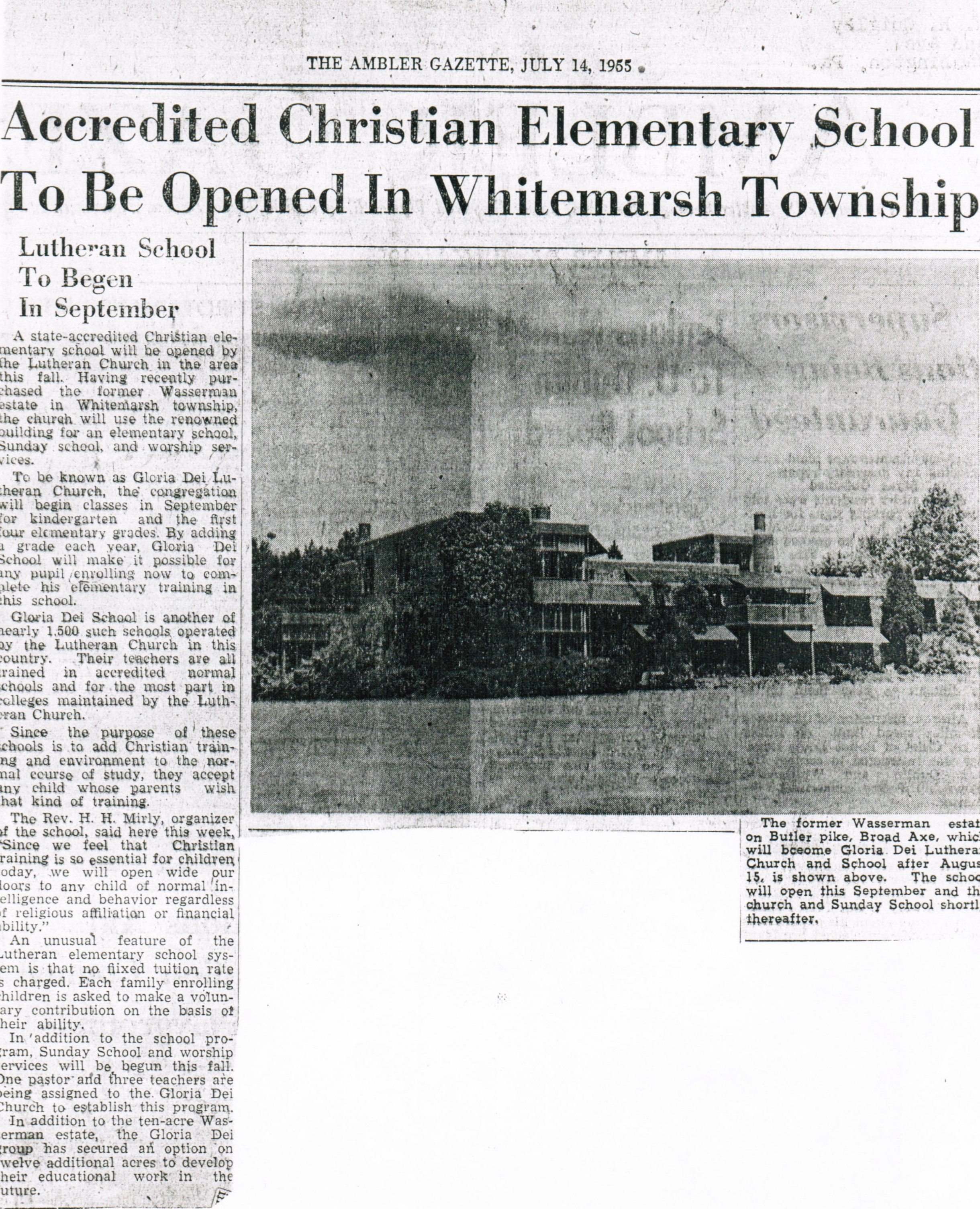1955 Ambler Gazette Article (click to zoom)