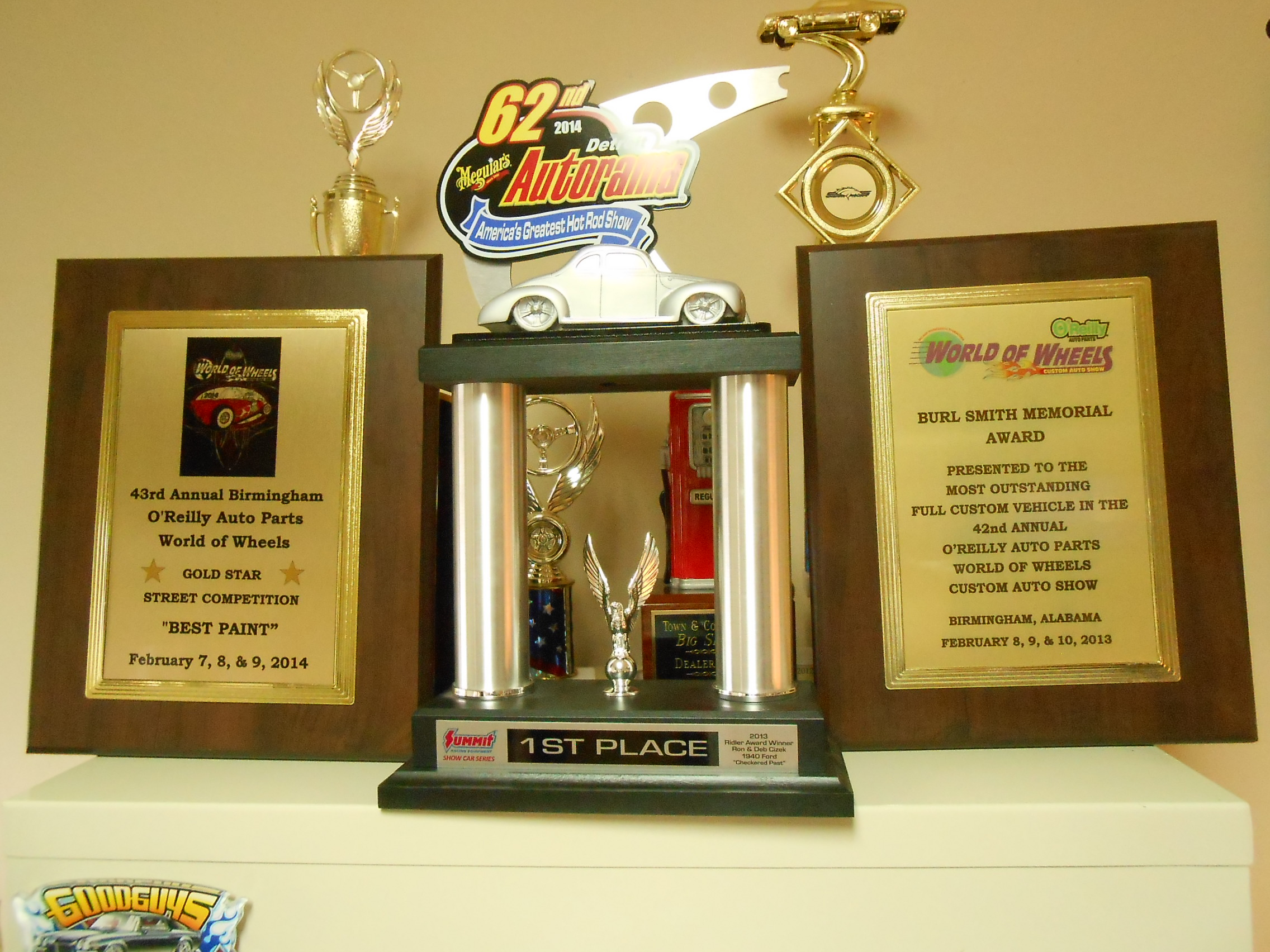 These various trophies were won by the 1934 Plymouth.
