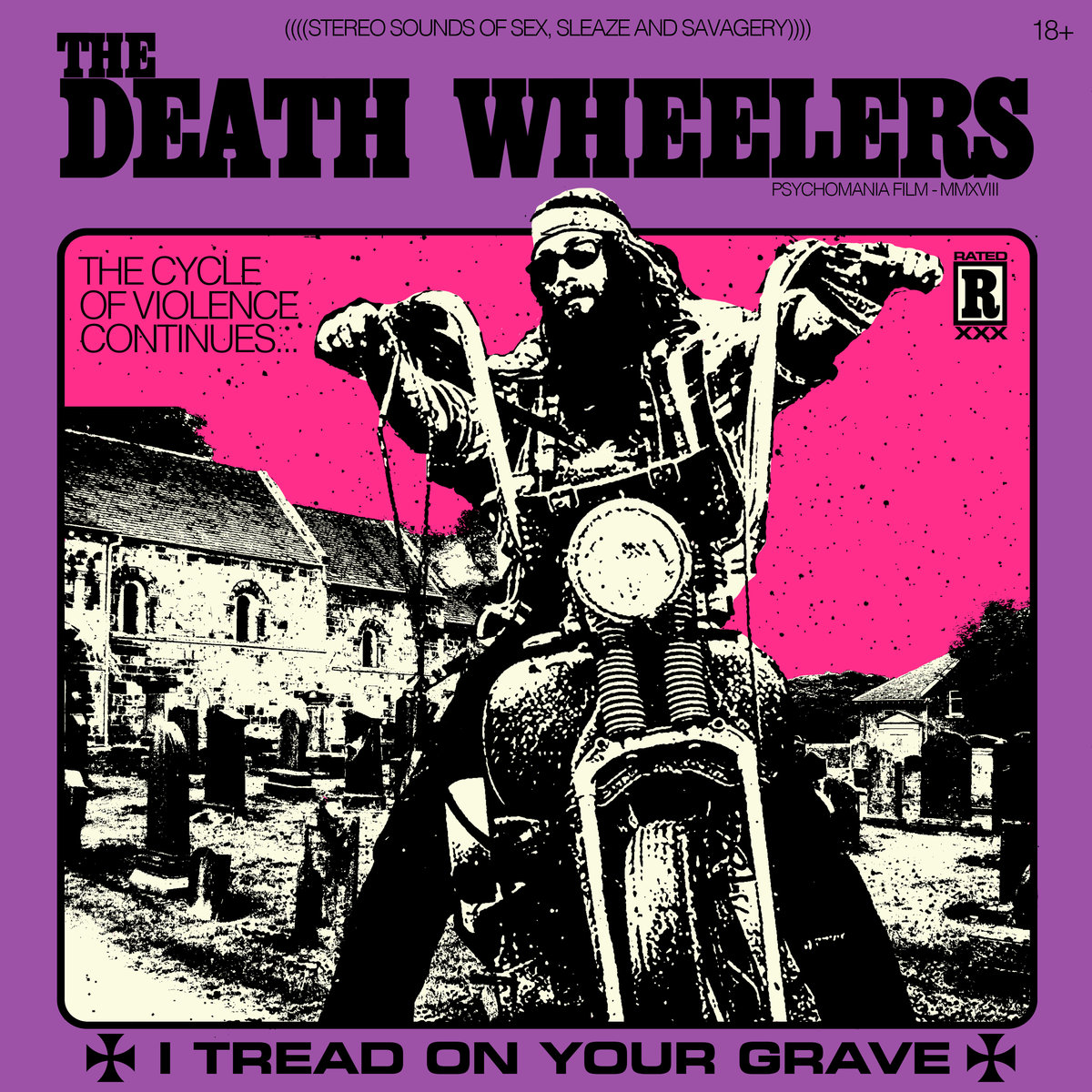"""Album Review: I Tread in Your Grave by The Death Wheelers - Well, let's kick this week off right in the mouth with a steel toed boot, dose the fire with some Crown Royal, and ride off into the night smoking reefer with an undead vampire chick on the back of our blood-fueled motorcycles! Well, at least, that's what The Death Wheelers would want us to do. And judging by the sounds of their debut full-length, """"I Tread on Your Grave,"""" we probably shouldn't argue with them. This instrumental (ANOTHER instrumental review, you ask? Better GODDAMN believe it, I answer.) quartet from The Great White North, sound like anything but your typical Canadian nice guys. If the band name being the alternate title of the 1973 film """"Pyschomania"""", for-the-juggular album title, grindhouse-style artwork, and song names such as """"Roadkill 69"""" or """"Motö Vampiro""""didn't give that away for you, perhaps the sypnosis of the record will:  Decimated in 1972 by local authorities, all members of The Death Wheelers, a notorious motorcycle club, have been buried at the Surrey cemetery. But the time has come and they have risen for their last ride. They're back from the grave and they're hungry for blood! Nothing can stop this gang of living dead from recruiting new members as they travel coast to coast to find the filthiest, nastiest, trashiest individuals to join their ranks. Their goal, assemble a legion of 13 discycles to seek revenge on the pigs that dismantled the club and send them to their graves. The cycle of violence continues. Serving as a soundtrack to a beautifully grimy 70's bikespoitation film narrative; this 11-track record weaves in and out of nasty grooves consisting of fuzzy-yet-stabbing-guitar licks, Harley Davidson-style bass rumbles, and drums that will raise the dead. All of this in the style fo some evil, swampy, blues, but packed with a Mortal-Kombat style flying kick-punk rock edge reminiscent of Raw Power to wake your ass up in the morning. Now, even if you are a huge fan of sl"""
