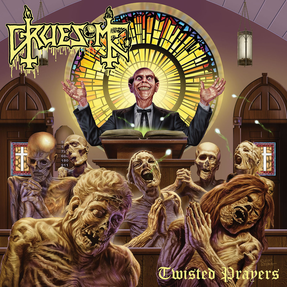 """Album Review: Twisted Prayers by Gruesome -  DEATH. My favorite. Not only is death the most fascinating subject of all, it is also an awesome fuckin' band. Fallen metal hero Chuck Schuldiner and his band of misfits pioneered and basically created the genre of death metal. From their 1987 debut """"Scream Bloody Gore"""" through their seventh and final record """"The Sound of Perseverance"""" in 1998, the band spawned countless classic death metal anthems, trademarked the 'death growl', played down the most face melting riffs anyone has ever heard at the time, and most importantly; paved the way and inspired hundreds of bands to spread this plague we call death metal amongst the Earth. The 90's """"old school"""" death metal scene was and is by many considered the holy grail era in the metal world; with countless righteously wicked bands of the likes of Obituary, Deicide, Morbid Angel, Cannibal Corpse… we could be here all night. You get it it. But, only one dude is considered the """"Godfather of Death Metal,"""" and that's our boy Chuck Schuldiner, leader and mastermind of Death that suddenly died in 2001. In the wake of his death, countless bands and fans alike continue to carry the gore-filled torch he lit… which brings us to exhibit B, Gruesome. Born from the decomposing remains of Death, Gruesome was formed as somewhat of a side project by guitarist/vocalist Matt Harvey and drummer Gus Rios after their involvement in the Death To All Tours, a tour of death metal veterans paying tribute to death. Yeah, its ben twenty years since the final Death release, and bands are TOURING in their honor to this day. That says something, right? So, basically, the whole purpose of Gruesome's existence is to pay tribute to Death as well as to fly the old-school death metal flag in a world grossly devoid of such. And to that I say, a-fucking-men, brother. After being super impressed and nostalgia-ridden from jamming the first released single from this record """"A Waste of Life"""" for weeks before the full a"""