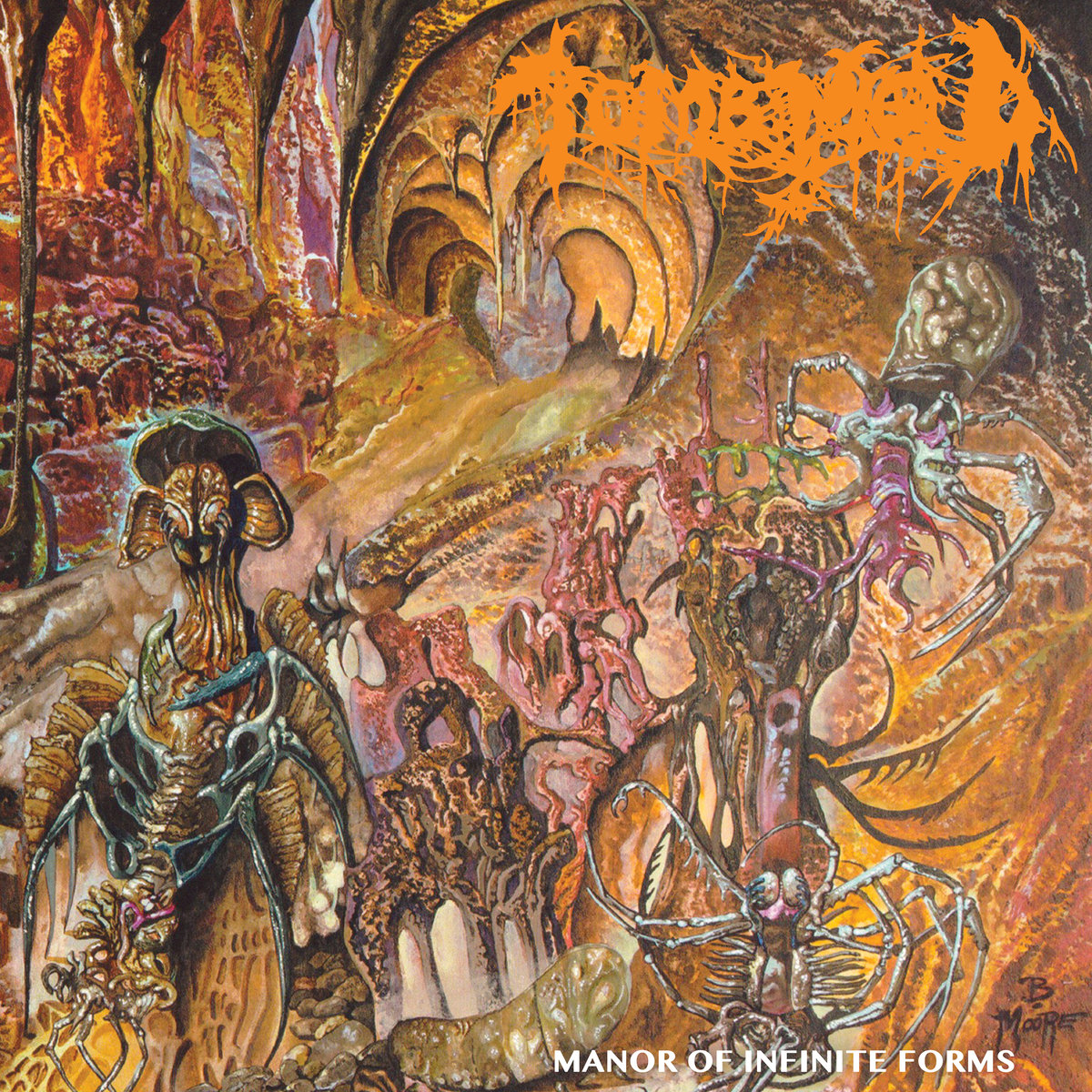 """Album Review:Manor of Infinite Forms by Tomb Mold -   Having been introduced to Tomb Mold on their 2016 debut, Primordial Malignity, I've always kept my eye on this little group of Canadian death metal killers. I thought Primordial Malignity was an interesting and refreshing take on old school death metal style, despite their name, Tomb Mold offers something fresh yet again. Now that they return with their sophomore effort on the AWESOME record label, 20 Buck Spin, its all the better and sicker.Where as the first record was pretty much balls out/amputated, gritty death metal;Manor of Infinite forms is a tad more polished with a lot more style… which, as you well know, is something I'm all for. There's a fine line to walk though, especially within the death metal crypts. When a band like Tomb Mold established themselves with dark, fast, evil, dirty, gross sounding metal (which I love) but wants to expand in a new direction while staying true to their roots at the same time, especially within the confines of death metal, that can prove to be a difficult mission. Tomb Mold seemingly scoffs at that, puts their cigarette out in a human skull, and says, """"mission accomplished."""" They do a remarkable job at maintaining their brutal death metal spirit while exploring some uncharted graves beyond their previous realm. The production here is a little better.. more polished.. but not too much. The songs seem to slow down just enough for the newly expanded line up to show their skills. And they do it so well in fact that when you go back and listen to their previous record, you might realize that the full on brutal speed approach to their flavor of death metal just isn't their cup o blood. Not that it was or is bad, but this is so much cooler. Please do NOT mistake this as me saying that Tomb Mold has gone soft (no necrophilia pun intended), as there are more than enough D-beats and pure death metal rage on this one; its just combined with a little more groove. The only way I can"""