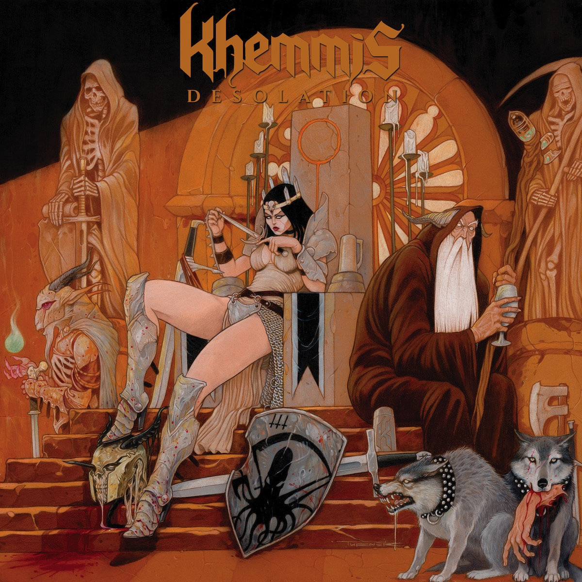 """Album Review: Desolation by Khemmis - And we're back for some good 'ol fashion heavy metal this week, kids! When all else fails, you can always fall back on heavy metal. It's there for you. From Black Sabbath and Iron Maiden to Slayer and Cannibal Corpse and all the new and little obscure bands in between that we love. It's never going anywhere. As much as we all love the classic stuff, I feel its still vital that we stay in the loop with """"new"""" metal bands and keep supporting the community that'll never die.. 'cuz thats what we do. All for one and one for all. It's only rock n roll. You know what I mean. So, when a new band like Khemmis comes along with a critically-acclaimed third record, Desolation, off the heels of their excellent second record, Hunted; I am beyond all ears. Does it hold up to the success and awesomeness of their previous and live up to the hype? Yes and no, I say. Dig this… As I mentioned above, I really loved Khemmis second record, Hunted. I thought it was a huge improvement from their """"not bad but nothing really special"""" first release, Absolution. But, that's about as far as my fandom ran for them. I thought it was a really good record, listened to it a few times, it was intriguing, catchy, and heavy and atmospheric enough to keep me excited about it for a while… and thats pretty much it. I put it down and seldom revisited for no good reason other than just was exploring new music or going back and jamming to the classics. So, I more or less forgot about them. Therefore, this new record, Desolation, slapped me in the face like fat bag of wolf bones and bloody swords. Damn! How did I forget about Khemmis!? The Colorado doom/stoner/epic metal warriors have returned for another around and I found myself quite unprepared for it. So what did I do? Suited up with a bunch of ancient armor and went on a trek deep into the Pittsburgh wilderness and started slaying imaginary creatures? Wait, what? No! I totally did NOT. Ever. I actually just went back a"""