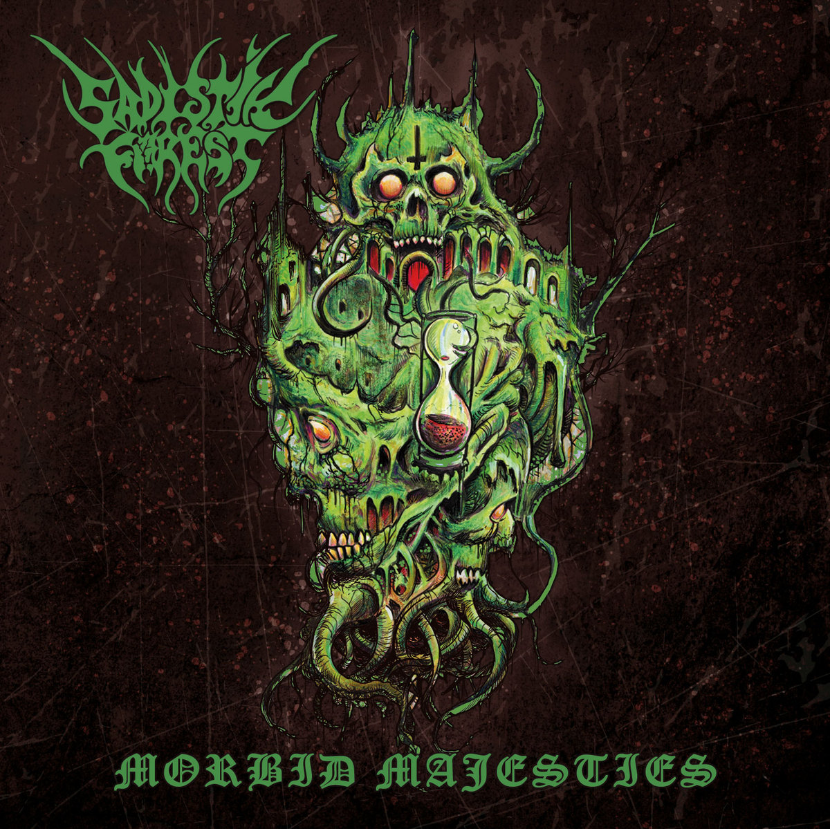 """Morbid Majesties by Sadistik Forest -  Can I just start this off by saying that the sheer amount of quality extreme metal music being produced this year is ab-so-loot-ley in-facking-sane. Thanks to the undying dedication and passionate independent record labels much like Transcending Obscurity, (who put out this record) among countless others; and the magnanimous amount of bands much like Sadistik Forest for churning out such epic, crushing, inspired, and genuinely GOOD music. It has actually gotten to the point of being overwhelming. I mean, I don't review half of the records I get and plan on reviewing, as more and more keeping coming like (literal) bats out of hell. What a great fucking problem to have, though. If you want to go as far as to call the market oversaturated or not, the reality is in the current state of the game a band has to put out a really strong release or have a really cool gimmick or wit about them to be noticed and praised among the others, and there has been more than a few releases this year that have done just that. This resurgence of extreme metal and dedication to the inventiveness and quality of it is happening right before our eyes, and we should throw on some dope ass shades and fucking enjoy it, if you ask me. Sadistik Forest's new record is a record I chose to review not because it reinvents the death metal wheel whatsoever… there are no electronic sounds, atmosphere-inducing tones, and they definitely aren't wearing any cheap halloween costumes. Hailing from Finland and have no intentions of fucking around, they present to you Morbid Majesties. This record is a refreshing take on no frills, old-school, unapologetic, death metal. And we love it. The thing that first intrigued me most about this record was the art of the band name and the actual album art itself, the imagery it provided.. it was impossible to know what this would be sounding like. It doesn't have a strictly old-school death metal vibe, or a """"core"""" or """"slam"""" element, """