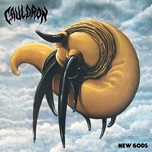 """New Gods by Cauldron - A nice simple, heavy metal band name... check. A nice, readable, logo with attitude... check check. An abstract yet clear, original, and nondigital, classic-feeling album cover... quadruple check. COOL. My attention has been gotten. New Gods prove that Cauldron may be that of the """"revival of heavy metal genre"""" akin to that of say Ghost, Haunt, Holy Grail..ETC.. that derive influences from say Angel Witch, Candlemass, Priest, Maiden, ETC… well, not exactly. I feel that there is a whole lot more to cauldron than they are given credit for. There is so much more to this record than a throwback to classic heavy metal. In fact, I'm hard pressed to find anything related to something like Judas Priest or Iron Maiden on this record whatsoever. In theme and in spirit, sure. But that's about it. This is a full on, fist in the air, straight up 70's hard rock record complete with arena-ready choruses and larger than life power chords. Instead of being another stoner 70's sludge worship metal as it is being present as, this is much more Living After Midnight than it is Electric Funeral. Another band hailing from the Great White North aka Toronto, Cauldron continue to stir their witch's brew of heavy metal since its inception in '06. Having a few records under their belt, Canadian classic heavy meatheads have embarked on a fourth album run, claiming themselves to be New Gods. Bold words, bold band.. readable logo, even? Abstract album art but not abstract enough to be indistinguishable from realty, giving off a classic stoner metal vibe, but does their music reflect that? Either way, do they live up to the magnanimous title of being New Gods? Maybe… just maybe. Hooks, hooks, and ho - - is prostitution legal in Canada? Regardless, Cauldron's catchy power metal is effortless, especially on the opening single, Prisoner of the Past. They may be referring to how this song would not sound out of place on top 40 rock radio in '75, or it just may be a deeper meaning"""