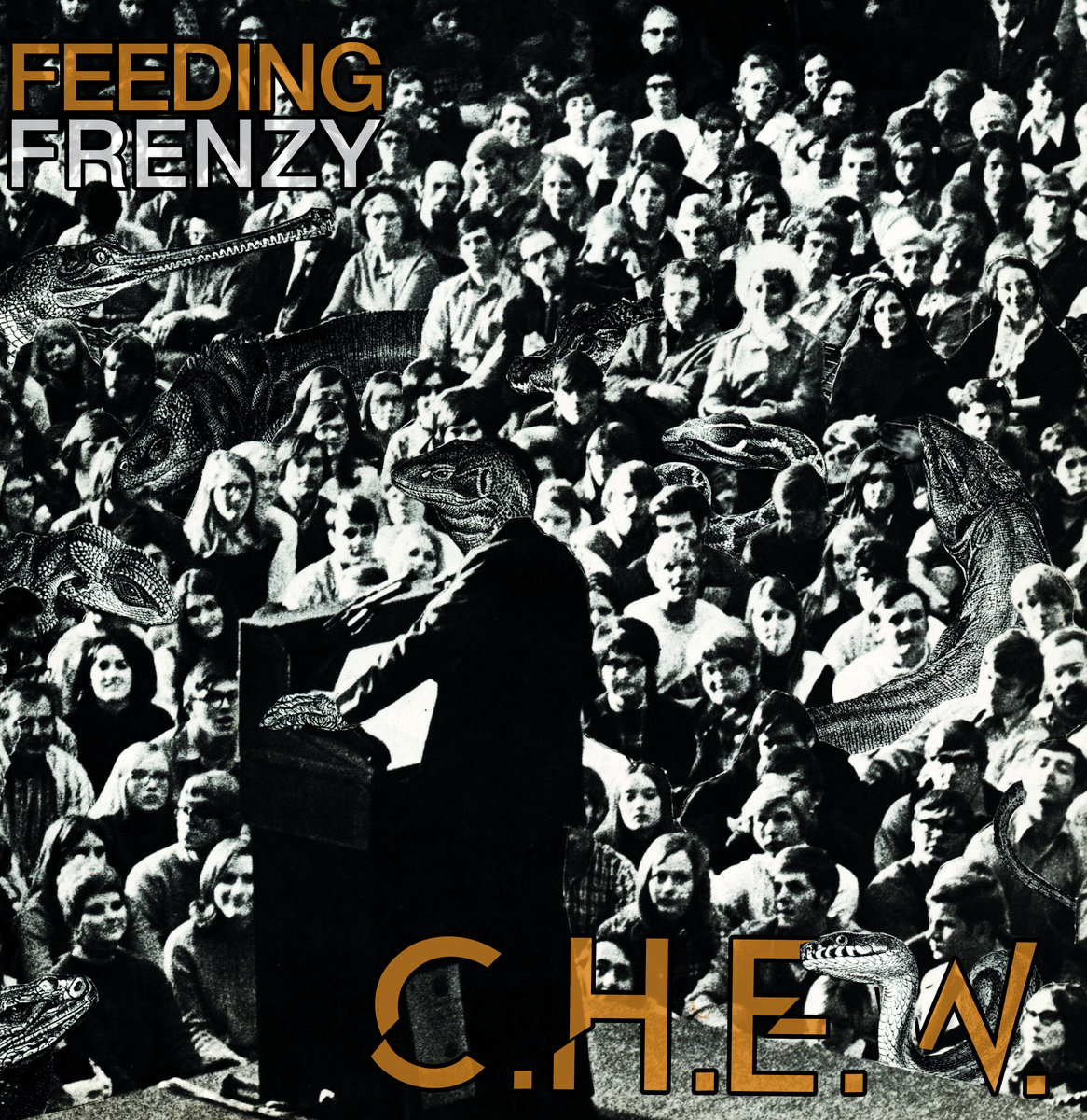 Feeding Frenzy by C.H.E.W. - HARDCORE PUNK AT ITS MODERN DAY FINEST. CHEW HOLD NOTHING BACK ON THEIR FEEDING FRENZY LP AND ARE HERE TO BRING PAIN AND WAR. I FEEL THE NEED TO TYPE THIS REVIEW IN ALL CAPS BECAUSE THAT'S HOW THIS MUSIC MAKES ME FEEL. LIKE IM MAKING A STATEMENT. AND ITS LOUD. AND I'M PISSED OFF. AND EVEN IF YOU CAN'T UNDERSTAND WHAT IM SAYING, YOU SHOULD HEAR IT AT IN INAPPROPRIATE VOLUME BECAUSE FUCK YOU.…and that's exactly how I like my music.As the spitfire drumroll of Feed Frenzy pollute the airwaves and a good old bottle full of hardcore punk cracks open over the side of your face, leaving your teeth gripping the root of your gum for dear life as the wide open cheek wound's blood pools in your mouth, forcing you to CHEW on your tongue as your head uncontrollably bangs to this sonic creation… I assume thats how CHEW got their name. Possibly is a scenario like that. OR perhaps CHEW might stand for something. CHEW stand for.. actually, stand against.. many things; and we'll get to that later. Rather, I'm thinking like an acrostic stye, as in Can't Hardly Earn Wages; or Come Here Eat Worms, or Continue Hating Economy Whores, OR maybe the answer is a simple Google search away… it actually means Cold Hands Elicit Worry, which makes sense, I'm just trying to creatively get my point across. Hailing from the only city more violent than their music, Chicago (with the utmost respect, I love that city and like them more for being from there), CHEW have created a perfectly balanced, yet utterly chaotic, modern day hardcore punk that could be stacked against the best of them. The thing is those classic hardcore bands and records are even more relevant today than they were then, which is perhaps beautifully timed irony or simply a cruel twist of fate.. time will tell.. but CHEW are not waiting around to find out. And that's the thing you can't say about most (if any) pop music.Punk has a place not only in hearts and heads of the educated rejects and rebels alike,