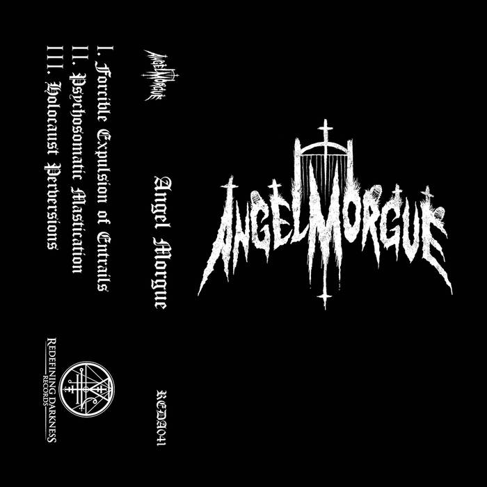 """Angel Morgue EP by Angel Morgue - Louder than doom. Heavier than hell. According to Angel Moruge's tagline, it looks like Christmas came early this year, freaks! Jesus may have been born this day but more importantly than that, the gods of heavy metal have descended upon us an Angel Morgue EP being released via Redefining Darkness Records that is metal of the utmost quality: Old-school blasphemous American death metal. All of that and casket full more. An exercise in the devil's music to help us jingle all the way through this Helliday Season kicks off things right with the musical manifestation of the feeling most of us get this time of year, Forcible Expulsion of Entrails. And it, the song as well as the band, is exactly what it sounds like it is. Pure and awesome, tired and true, loud, fast, and brutal death metal. If you don't like that, then do yourself a favor and stay farther away from this than the mall Santa does his AA meetings. (I promise to stop with the Christmas jokes soon.) Clocking in at under two minutes on a three song EP, Angel Morgue waste no time delivering the goods, in the words of Judas Priest. A short and simple assault on our senses and introduction into the next track, Psychomatic Mastication, is a lurking piece of sonic torture full of riffs and punishment that'll sure have you fist fighting the nearest wall. Sounding very much in the vein of Incantation, Immolation, Suffocation… Hey, that sounds like an alright Christmas jingle.What was I saying? Oh, right, just more about how much ass Angel Morgue kicks on this 3 song EP that most bands can't come close to on an entire record. The old school death metal done right is a formula I will never get tired of and will never expire, it is in fact, timeless. Which is the ultimate test of music, especially in metal, that I personally have a hard time justifying to many genres of extreme music. The first Suffocation """"Human Waste"""" EP sounds just as awesome today as it did then. Stuff like this Ange"""