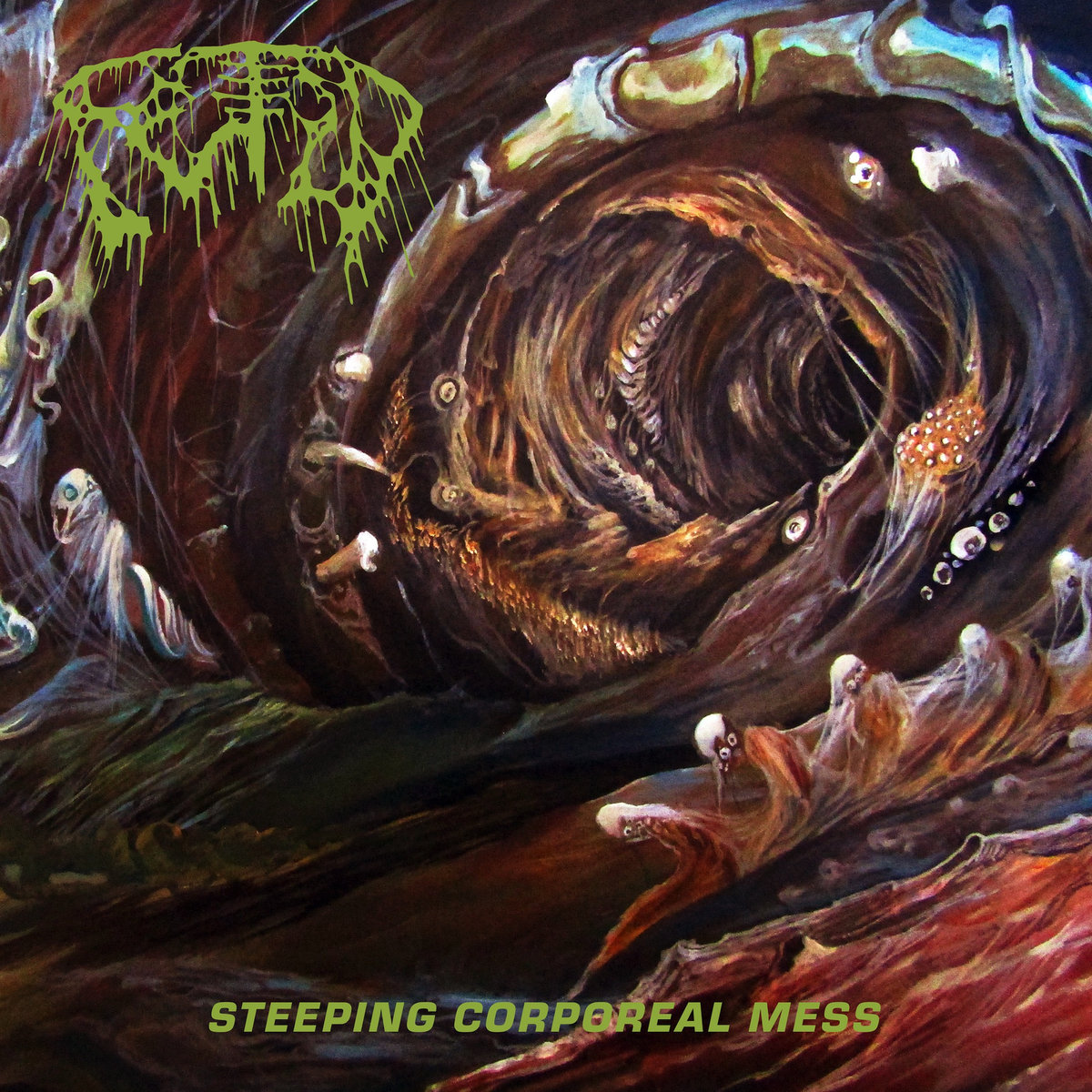 "Steeping Corporeal Mess by Fetid - Ah, when the gods of Old School Death Metal possess youthful, energetic, and undeniably killer musicians. Trudging forth as saints of their almighty craft and hoping the rest of us mere mortal beings don't loose sight of what's truly important in this life… Old School Death Metal. Sorry, Jesus. The sheer amount of bands, new and ""old"", flying the skin-shredding OSDM flag proudly in music, t-shirts, tattoos, or WHATEVER;  and doing so in a proper way to pay respect and proudly let their influences shine as to not merely regurgitate or imitate, just to rock, is proof that it will never die. I think they thought it would.. then comes a record like Fetid's Steeping Corporeal Mess.. and it sounds exactly like you think it does. Heavy, thick, lurking, boiling, putrid, and profane. It is compromised of gross subject matter, grosser production quality, and the grossest of the gross riffs. Fetid seem to draw upon many sources of enlightening death for inspiration ranging from taking the point of view of a corpse already buried alive, intestinal possession & expulsion, physical as well as mental & supernatural torture, and just general studies of rot and decay. Embodying (literally) all of the above as well as the subtle sounds and textures that go along with it, Fetid has produced an ancient death sludge - primordial ooze of a record that is as timeless in nature as it is in death.. It is perfectly paced, titled, orchestrated, and composed (and decomposed), as that maestros of metal would have it no other way. As the visceral debris remains and pieces of guttural and pulsating precessional harmony pollute the airwaves, I still could not tell you what's nastier… an actual reeking pile of fly-infested organ meat suspended in gastro-intestinal fluid bubbling and sizzling under a sweltering desert sun; or Fetid's bass tone. I guess we'll have to further dissect this 5 song slaughterhouse of a record to try to figure that one out. Who's with me? Bring your own barf bag. Let's do this shit.Seemingly to dropkick the listener square in the chest (this is Sparta style) into an infinite sweltering & oozing void such as brilliantly depicted on the sickly obscure album artwork, giving a new meaning to 'kicking it old school' entirely.. which, thank the gore lords, they do. Quite excellently, in fact. Yes, the grimy & guttural OSDM is applied with a strikingly thick brush, but highlights of extravagant color protrude from this landscape of rot as well. Further enhancing Fetid's flavor of extreme metal, they effortlessly take their songs form a bare bones, knuckle-dragging, death metal hitters to soaring them into an almost uncharted realm of foul stench atmosphere and churning rhythmic zombie-inducing hypnosis. They seem to achieve this honor by pushing songs to around the 6 minute mark, but holding enough back as to not push them into technical/deep space/progressive realms. Although Fetid keep the trackless light and tight at a mere 5 tunes of plunging death, making it either an alt rock album snob's worst actual nightmare OR the best case scenario for a splatter freak with AD/HD and too many weights to lift. That being said the shorter runtime makes it perfect for a full on 45 minute workout frenzy, although that's not for everyone; it is a fuck of a lot cheaper than therapy. And Fetid won't kick you out on the first day for being ""noncooperative."" I couldn't have been the only one. SO back to the album.. 5 songs is not much for quantity but the quality is that of unnerving consistency. The songs have been sliced open and packed to the gills with all the grave-opening blast beats, guttural vocals so guttural it sounds like actual guts spewing twisted lyricism at its finest, a hulking and menacing bass section that'll leave your cranium rattling for days, and not to mention riffs. Did I already mention the riffs? Well, shit, let's talk about the riffs.The star of Fetid's death show is undoubtedly, IMHO, the 6 string. The guitar workings of Mr. Clyle Lindstrom are as exciting as they are horrifying (but what's the difference really?) as one moment we could be locked into an old killer groove, then at the drop of a dime (or eyeball) we are launched into a riff fueled tempo change into frenzied Dismember territory. Not to mention  some spiced up pinch / pick-through- the-eye- harmonics of demons, all before coming back to the almighty death metal RIFF Fetid so effortless spit out and cycle through. Facemelting is far from absent, however, facemelting via intense solos, is.. and I like the record more for it. Instead of a reworked classic death metal solo, they employ of Morbid Angel commandments as to make the guitar shriek, wail, howl, and vomit all over the place.  Although Fetid's tunes push into longer lengths and creeping depths, there is no reach for technicality or shredding, they keep it down to earth. So far below the earth into the primordial depths of such that there is no such room for technicality, just writhing in the gross and gruesome Steeping Corporeal Mess of an atmosphere they created by their wicked hands. As if you have the extreme metal vocabulary down, and not to judge a book by its cover, but you can sort of tell from the obscure yet not obscure enough artwork and logo to be classified as technical/prog death metal while keeping the old school heart still pulsating strongly.. I may be full of shit and that may be irrelevant but I think there's something to it… and their music holds up to that theory. All in all, I love how they just keeping reinforcing the thick absurdity and heavy catchiness of their riffs. And their stench of rotting death. However, the bass does get more than enough opportunities to shine throw the dankness and blinding bouts of blood, lending a generously rotting hand in assisting the riff mastery to do its duties of death. The chugging and slapping, thick and bleeding tone never gets lost amongst all of the lurking and bubbling elements it has every right to get lost in, and when it has a ""solo"" moment it seizes it like Jason Voorhees upon an innocent drunken teen's throat. Now that I think of it, there may be more bass solos on this record than guitar.. *infinite points scored* *cue screams of the innocent, lighting strikes, and showers of blood*Not to run amok (no pun intended) with comparisons to label-mates Tomb Mold, as they share similar vibes, although Fetid definitely do not push the experimental technicality near as much; they do employ a vocalist who also happens to be the drummer technique not commonly found amongst extreme metal circles for no better reason than what I'm assuming to be is that.. it's just too fucking hard. Again, not that the drums on Steeping Corporeal Mess are anything to rival Fleshgod Apocalypse or anything, but it is still very much heavy duty death metal drumming.. and, as they say, shit ain't easy. NOW try laying down breathless guttural vocals of horror on top of that. I applaud anyone's efforts in that realm. Not to mention the live of sound they achieve with merely 3 dudes in the band, one of which handling drums and vocals alone, is nothing short of impressive. Total bad motherfuckers. May the head banging never cease. Fetid's Steeping Corporeal Mess is the perfect record for old school fans looking for something just a little more progressive, different, expressive, and probably grosser than anything you've heard this year. For the rest of us, it's just another killer death metal record that very well could register among the best of the year. The fine humans at 20 Buck Spin have unleashed another monstrously sick production  yet again… KEEP KILLING IT.Rating: 4.5/5Gym Rating: 4/5Check em out:https://listen.20buckspin.com/album/steeping-corporeal-messhttps://www.facebook.com/fetid.death/"