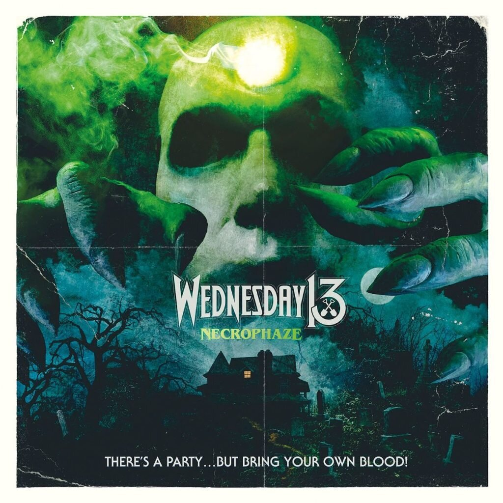 """NECROPHAZE by Wednesday 13 - Ahhh, where the fuck to start… OH, I know! I think I'll start right here. In the crypts of Transylvania. Into the mouth of madness. In the NECROPHAZE. And we will stay in that phase like a worm in a grave; only then to slowly twist and turn our way through the bones, dirt, bile, and various phases of Wednesday 13 that led The Duke of Spook & his band of post-apocalyptic ghouls into THE NECROPHAZE… which is potentially their most fleshed-out record to date. Pun very much intended.For those who DON'T KNOW, Wednesday 13, the aforementioned Duke of Spook, has been creeping in the subconscious of the horror punk (although they never really were """"horror punk"""" in my opinion) and underground rock & roll realm for many moons. His first band of lipstick, blood, and feather - drenched garage glam trash rock madness was none other than The Frankenstein Drag Queens From Planet 13. Formed in the bowels of hell, or uh North Carolina, in 1996; which not only highlights the fact that Mr. 13 was WAY ahead of his time in this current area of gender confusion and LGBTQ rights.. it seems he has been preaching equality for the freaks for DECADES… as well as preaching all things evil as one of the best that could ever coin themselves """"shock rock"""" without sounding like a pure Misfits, Manson, or Cooper cover band. Plunge into hyper speed for a few… in the early 2000's as if by the grace of the rock & roll gods and extraterrestrial powers that be, Wednesday found himself rocket ship blasted into mainstream(ish) by ex-Slipknot drummer Joey Jordinson, by the formation of their infamous band, The Murderdolls. Without getting into too much of that insanity, let's just say that band has been on the rails throughout the years with only 2 records out (one essentially all FDQFP13 material, the other potentially being the best rock record Wednesday has ever done) over the course of their career as a mainstream touring band. Left in the wake of the Murderdolls hiatuses, d"""