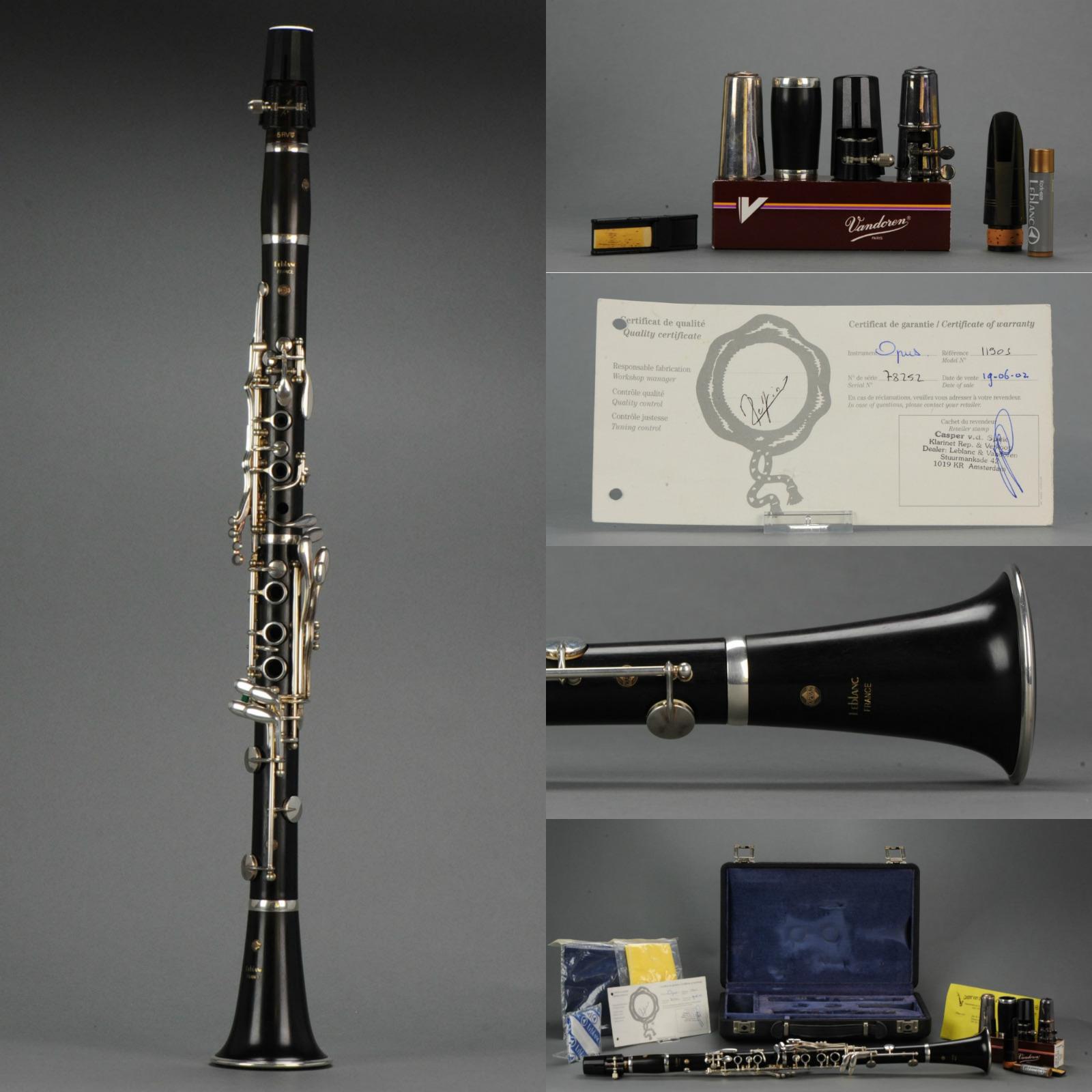 Merk  Leblanc   Serie nr  78252   Typ  OPUS 1   Applicatuur  Verzilverd18 / 6 (linker Eb klep)   Corpus  Hout   Prijs  € 2100, -   Bijzonderheden:  Instrument is internationaal bespeeld en zo goed als nieuw met veel extra accessoires  VERKOCHT