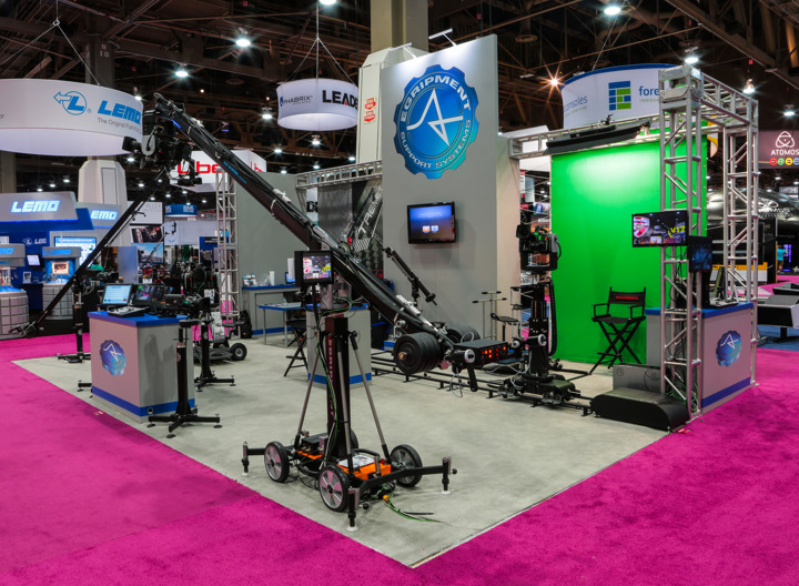 Custom trade show booth featuring equipment