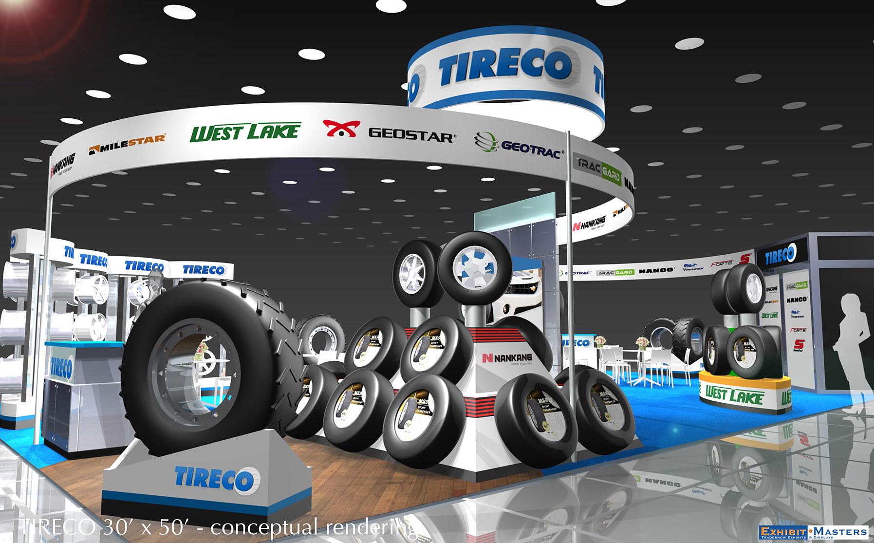 Trade show booth using modular pieces
