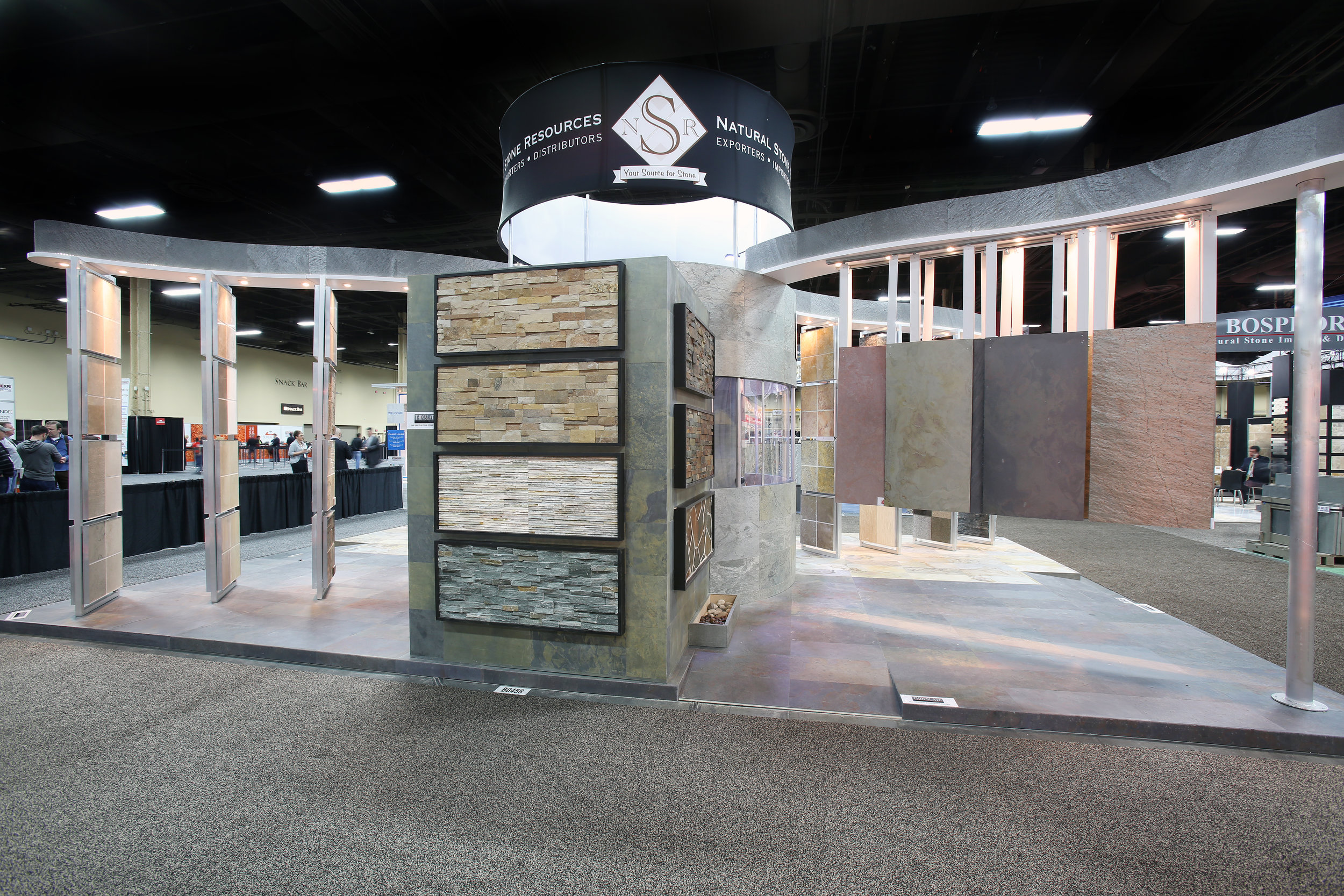 Trade show booth using samples