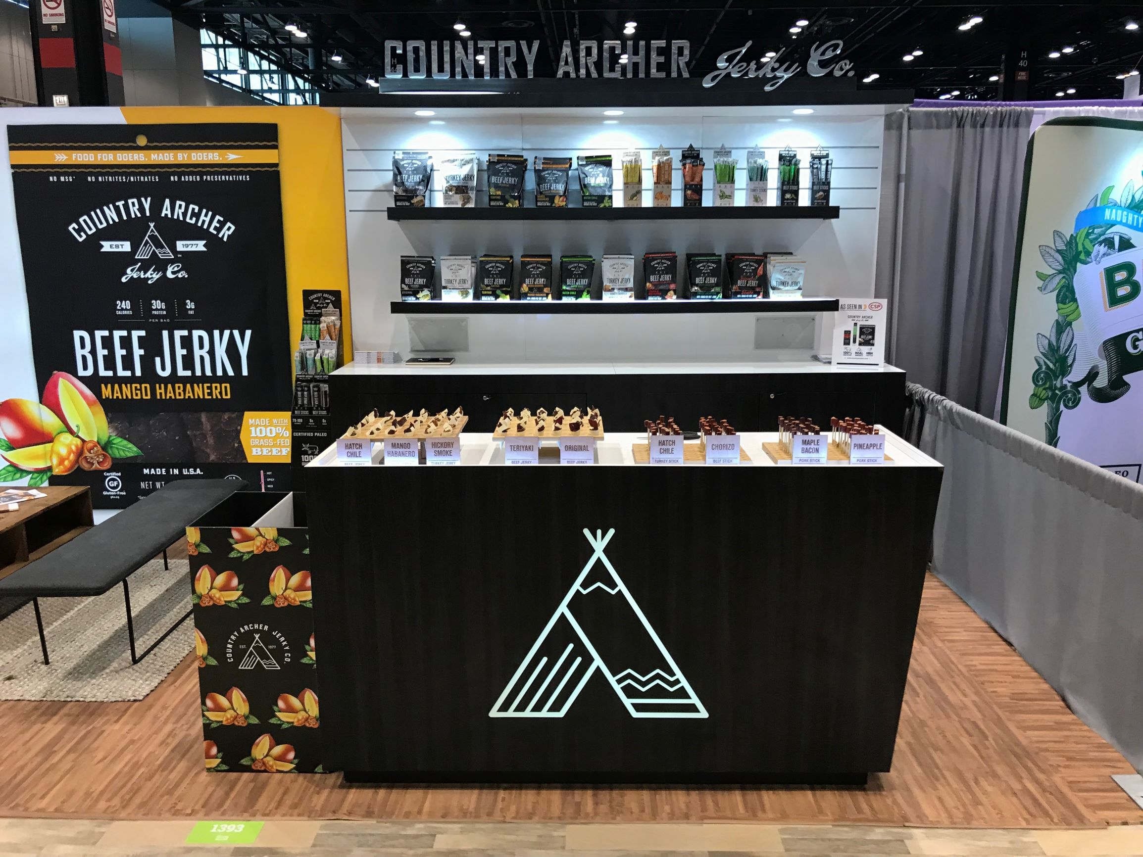 Counter at trade show with samples