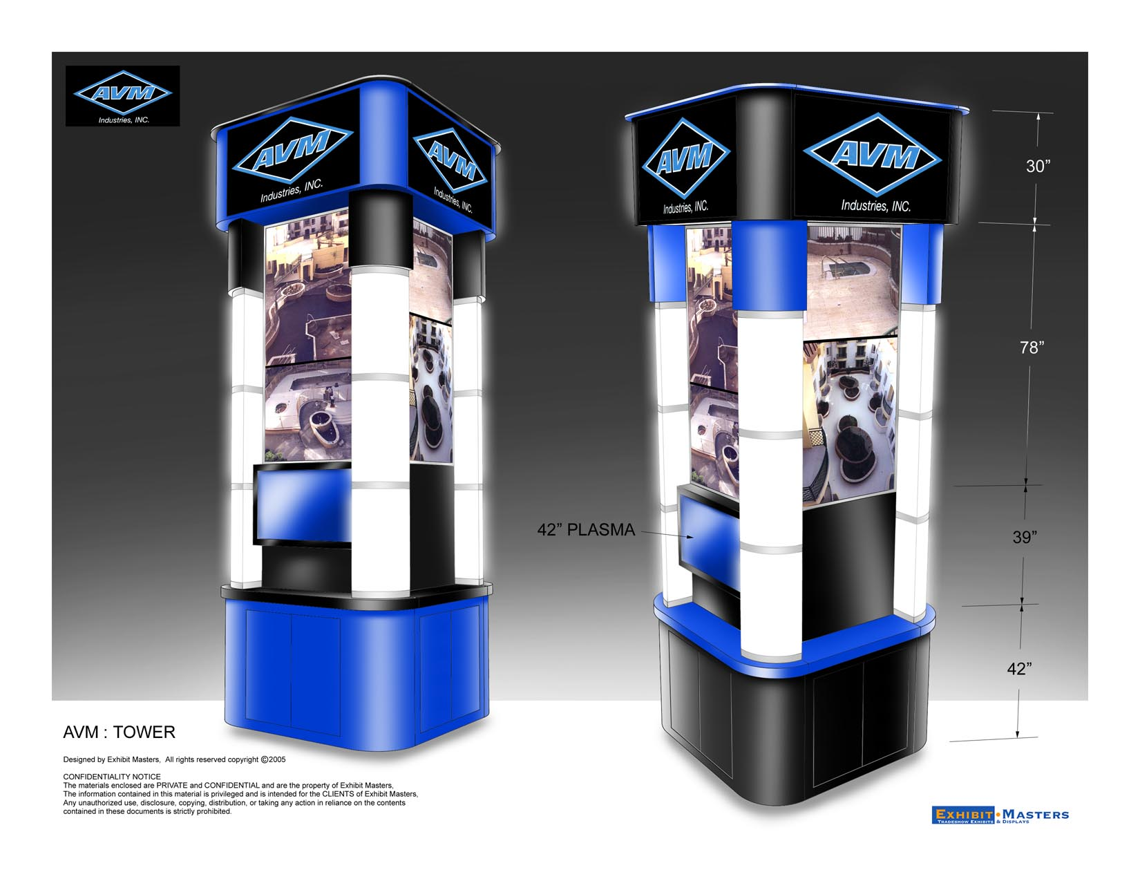 trade show point of purchase tower kiosk