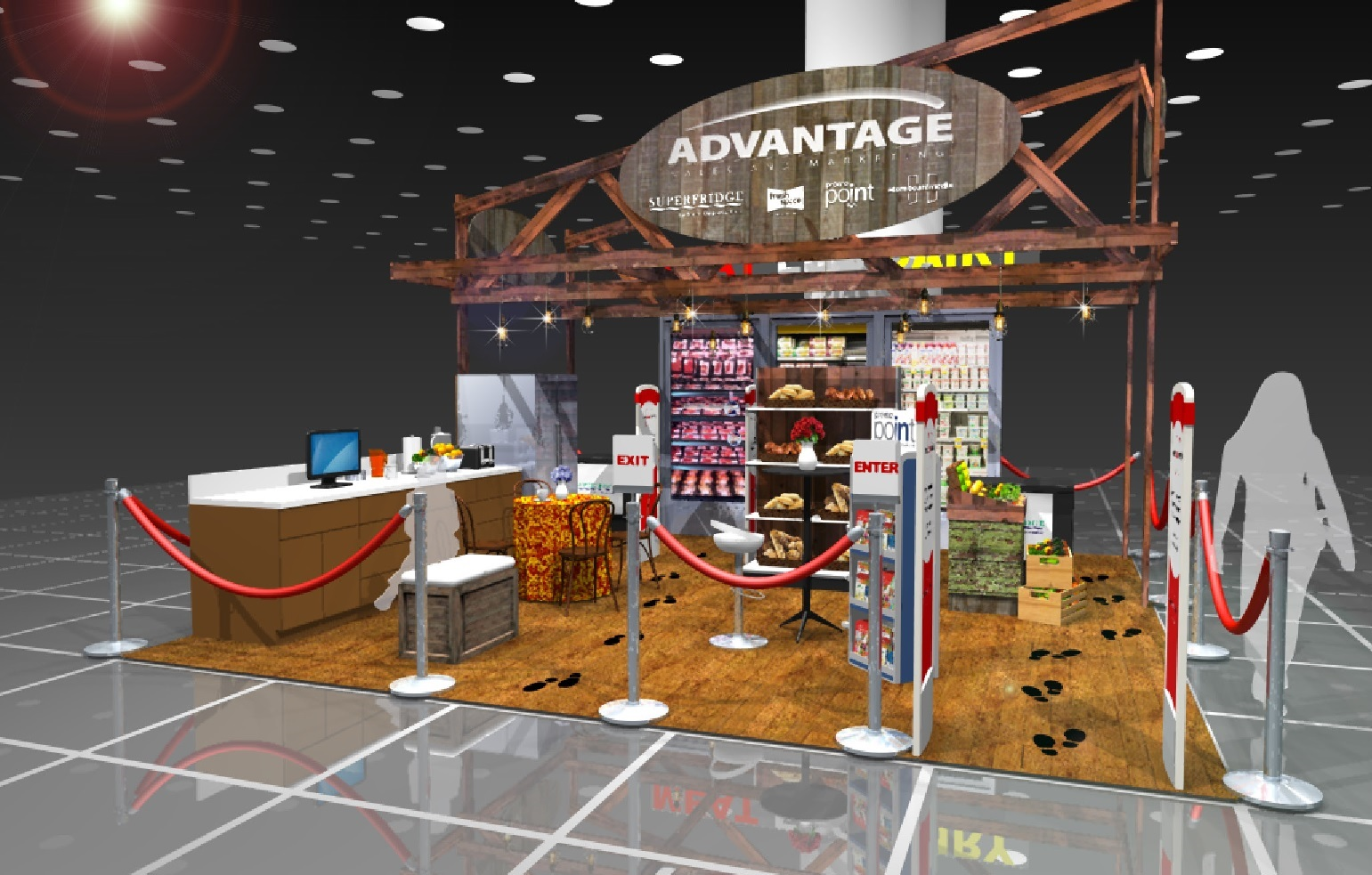 Trade show booth rendering including retail