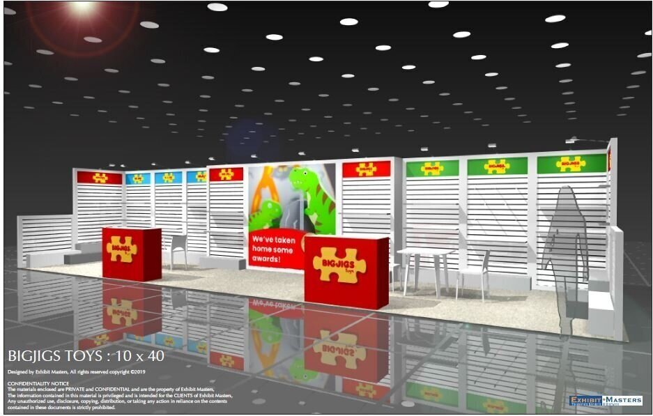 10' x 40' Modular booth rendering full view