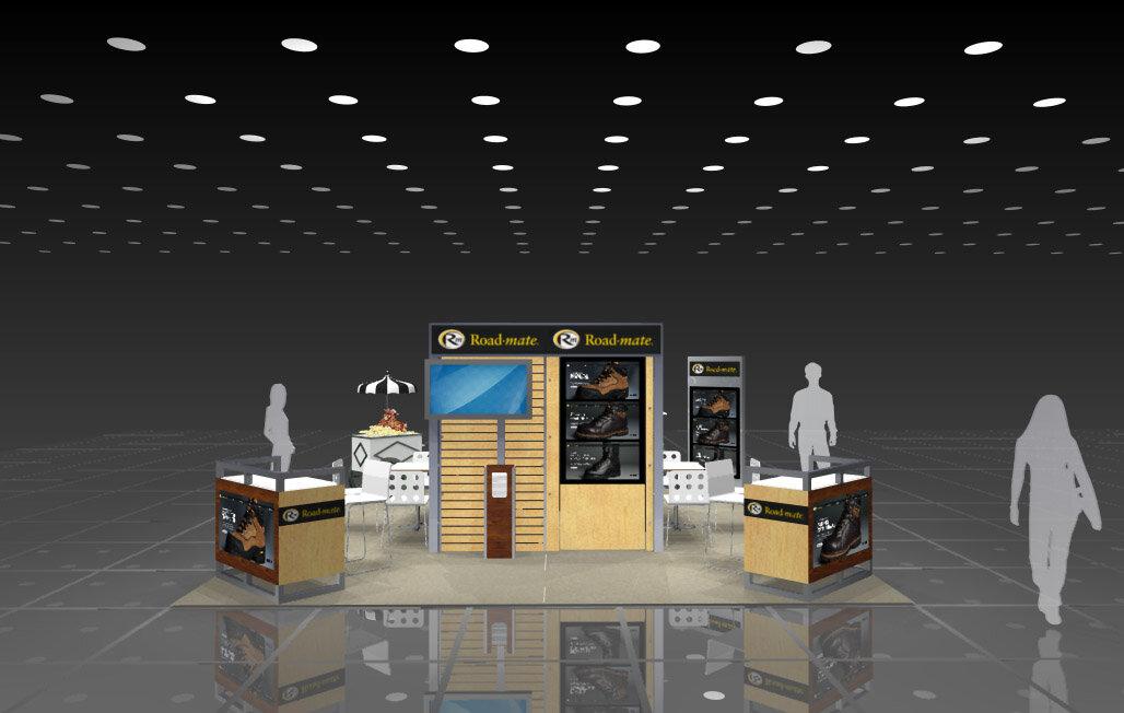 Rendering of modular booth: 20' x 20'
