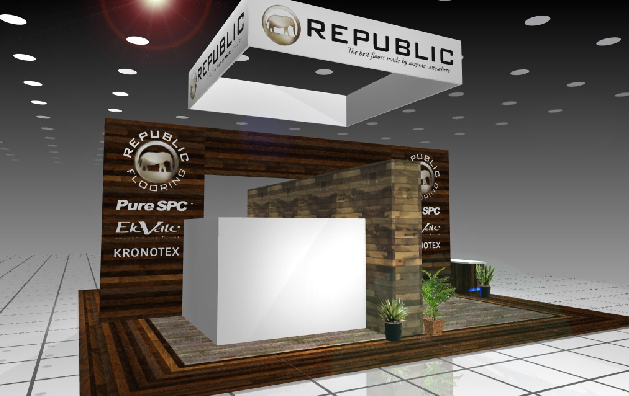 Rendering of 40' x 40' Custom Tradeshow Booth