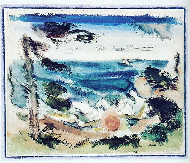 """John Marin (1870-1953), a master of watercolor and oil, is acknowledged as the first American abstract artist. Though based in New York, he fell in love with Maine, and like Marsden Hartley, Winslow Homer and Andrew Wyeth, much of Marin's work celebrates the state's stunning landscape. Maine's rocky coast was a favorite subject as seen in """"Trees, Rocks, Sea: Maine"""" (1923). """"In painting water make the hand move the way the water moves,"""" Marin wrote. Scofield Thayer Collection.  #thedialmagazine #scofieldthayer #johnmarin #marsdenhartley #winslowhomer #andrewwyeth #seascape #maine #maineartist #abstractart #artoftheday #arthistory #metmuseum #ngadc #watercolor"""