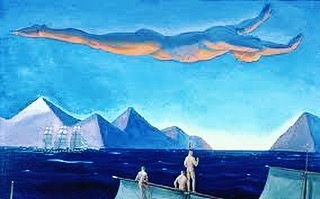 """Author, Arctic adventurer, political activist - and early American Modernist, painter Rockwell Kent (1882-1971) is best known for his rugged, austere landscapes populated with mysterious figures. Influenced by the Symbolists, he avoided """"petty self-expression"""". """"I want the elemental, infinite thing; I want to paint the rhythm of eternity."""" """"Voyagers, Alaska"""" (1919-23), The Dial, May 1924.  #scofieldthayer #thedialmagazine #rockwellkent #alaska #symbolism #artoftheday #modernism #landscape #blue #arthistory #arctic"""