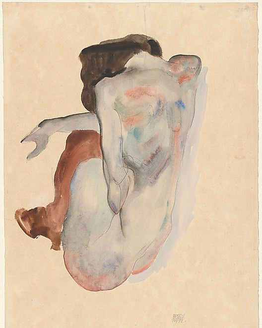"""Austrian Expressionist Egon Schiele (1890-1918) is best known for his sexually-charged nudes and provocative self-portraits. """"I do not deny that I have made drawings and watercolors of an erotic nature. But they are always works of art."""" Ironically, the priciest Schiele ever sold is a landscape: """"Houses with Laundry"""" (1914) at over $40 million. Thayer was one of the first American collectors of Schiele - """"Crouching Nude"""" (1912) - Scofield Thayer Collection.  #scofieldthayer #thedialmagazine #egonschiele #austrianartist #expressionism #nudes #vienna #artoftheday #arthistory #eroticart #metmuseum #leopoldmuseum #egonschielemuseum #österreichischegaleriebelvedere #albertinacontemporary"""