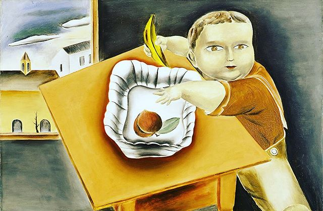 """Yasuo Kuniyoshi (1889-1953), a versatile """"American"""" Modernist, created a signature style with elements of Japanese and American folk art, and Cubism. Babies were a favorite subject as seen in """"Boy Stealing Fruit"""" (1923) - The Dial, March 1924. """"People think that babies are beautiful, but I thought otherwise."""" Japanese-born Kuniyoshi was the first living artist to have a retrospective at the Whitney Museum of American Art in 1948. But he died not long after, never realizing his dream of becoming a U.S. citizen due to the 1924 Immigration Act banning those with Asian lineage from naturalizing.  #thedialmagazine #scofieldthayer #yasuokuniyoshi #whitneymuseum #babies #japaneseartists #modernart #artoftheday #immigration #fruit #metmuseum #moma #smithsonianmuseum #columbusmuseumofart"""